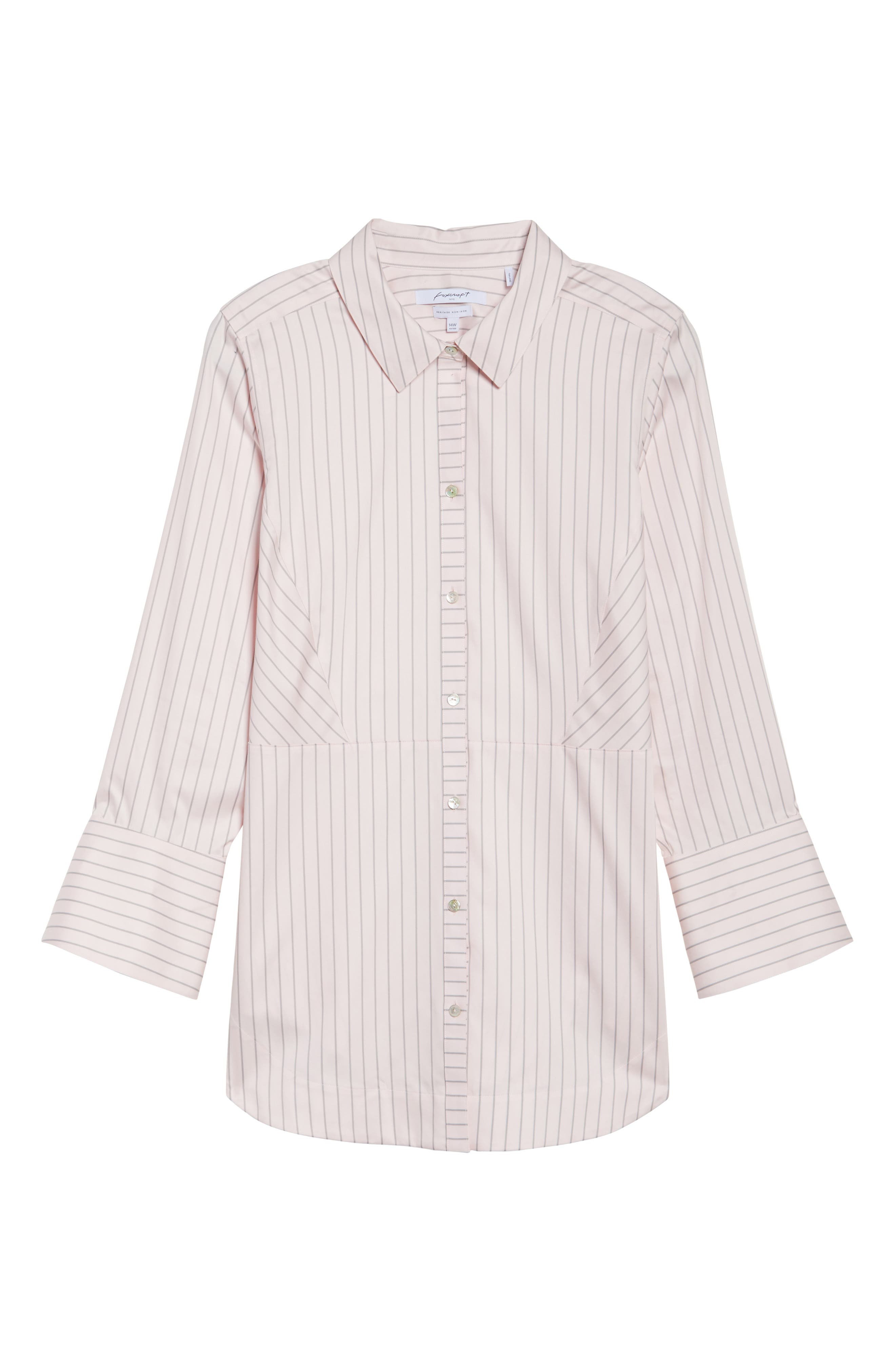 Alternate Image 6  - Foxcroft Patrice Classic Stripe Shirt (Plus Size)