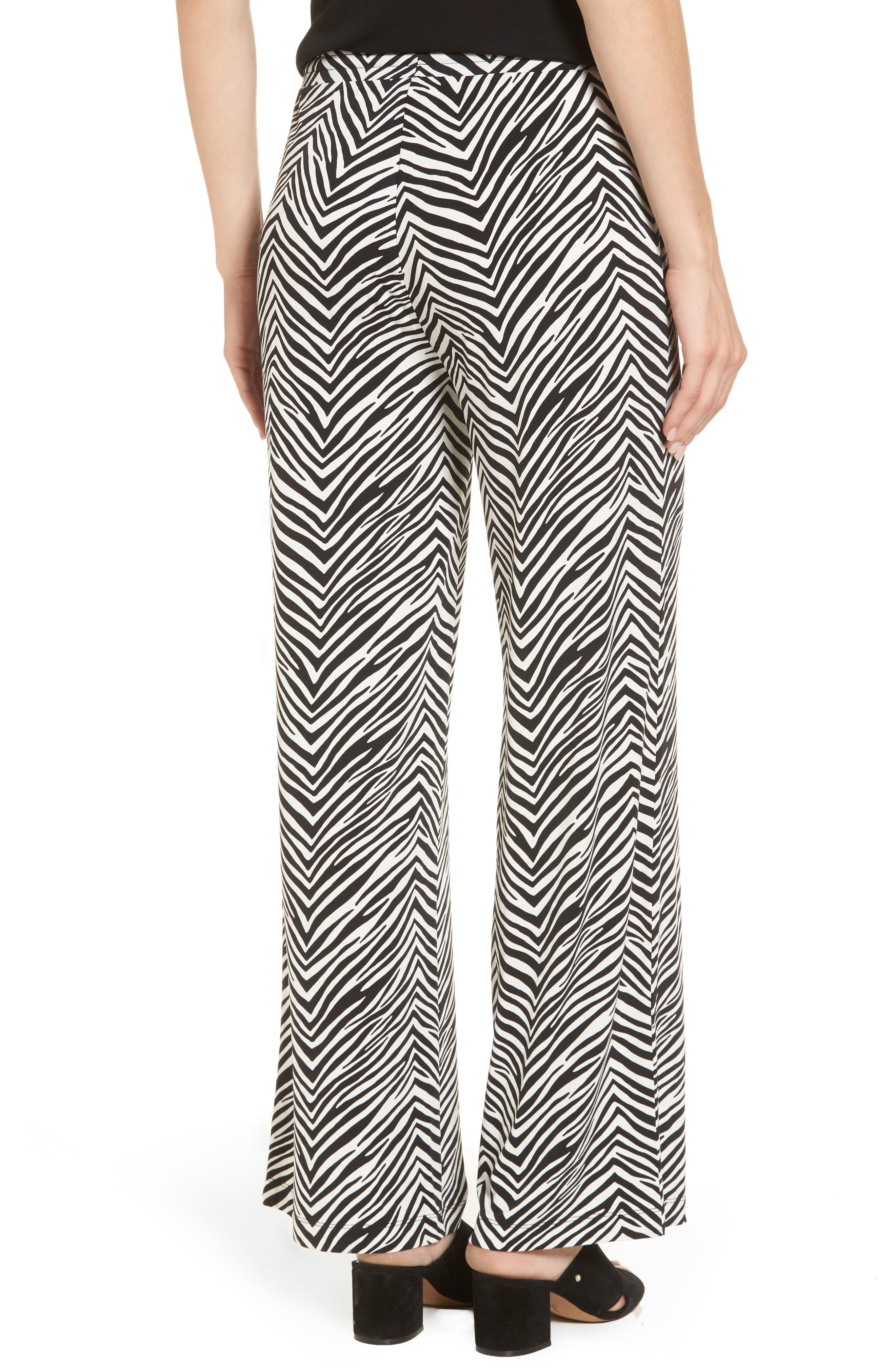 Zebra Print Drawstring Waist Pants,                             Alternate thumbnail 2, color,                             Rich Black