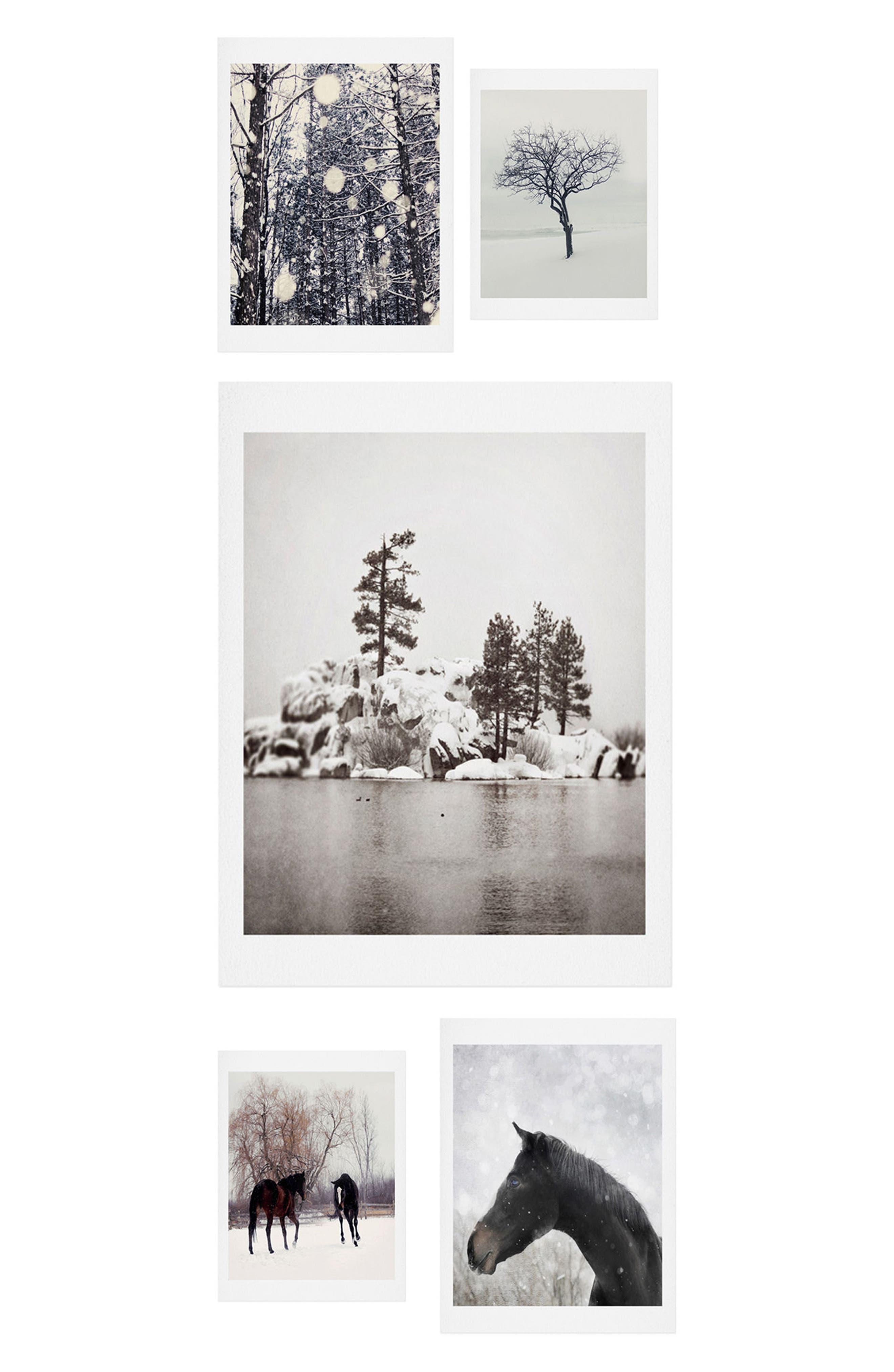 Winter Farm 5-Piece Gallery Wall Art Print Set,                         Main,                         color, Black/ White
