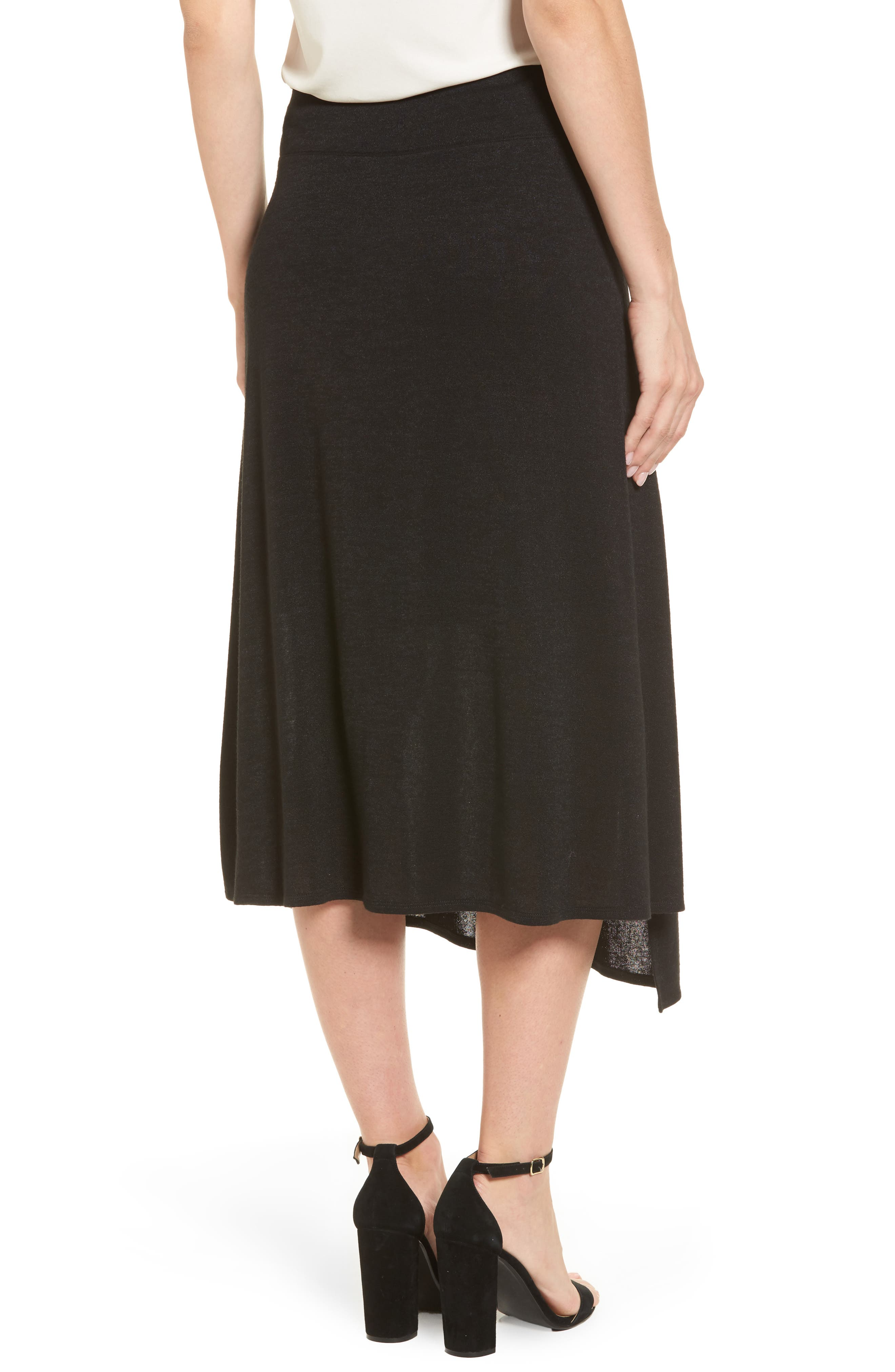 Nic + Zoe Every Occasion Faux Wrap Skirt,                             Alternate thumbnail 2, color,                             Black Onyx