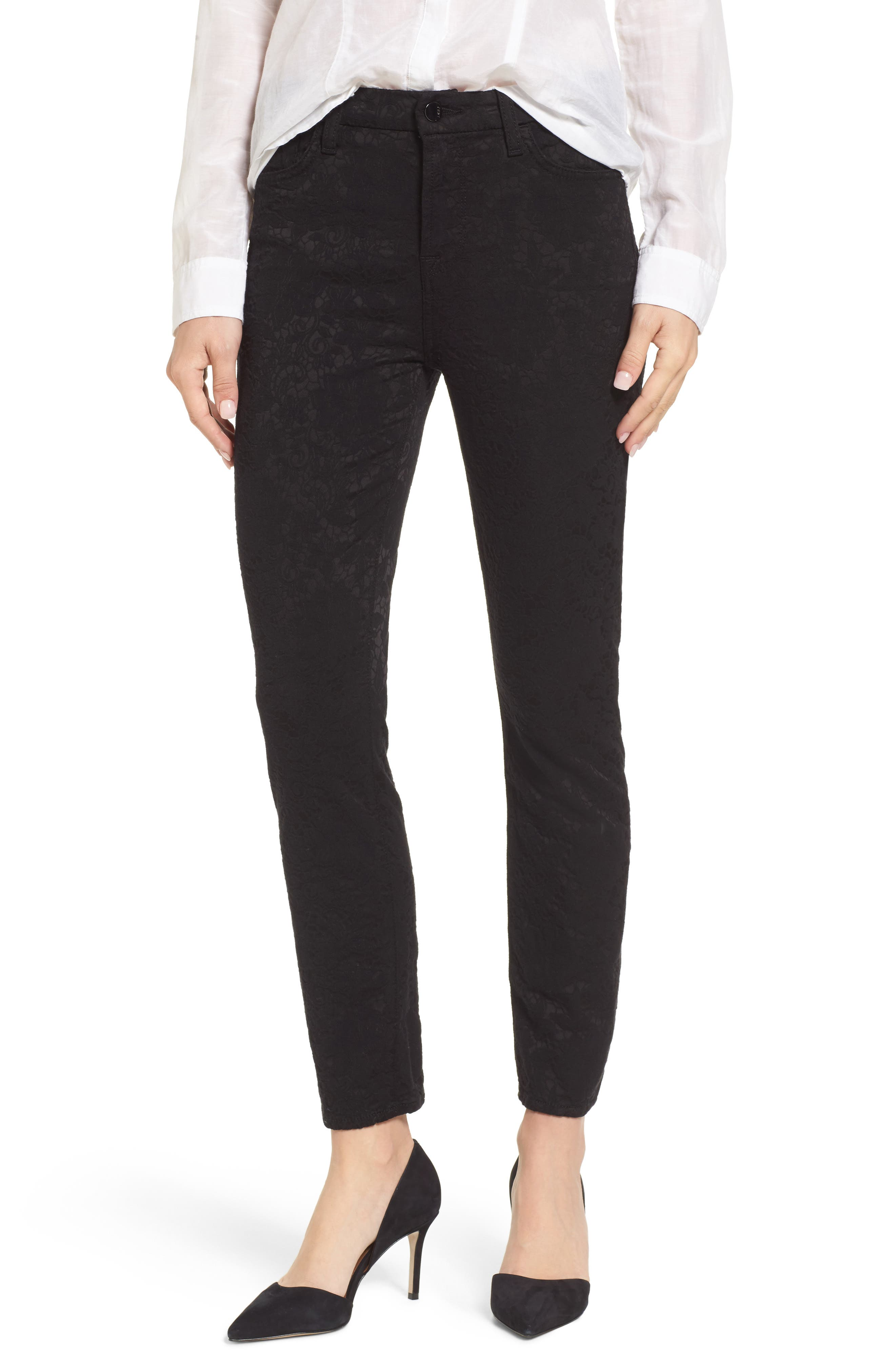 Stretch Jacquard Ankle Skinny Pants,                         Main,                         color, Black