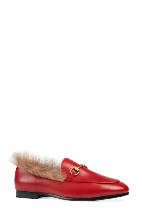 Gucci Jordaan Genuine Shearling Lining Loafer Women