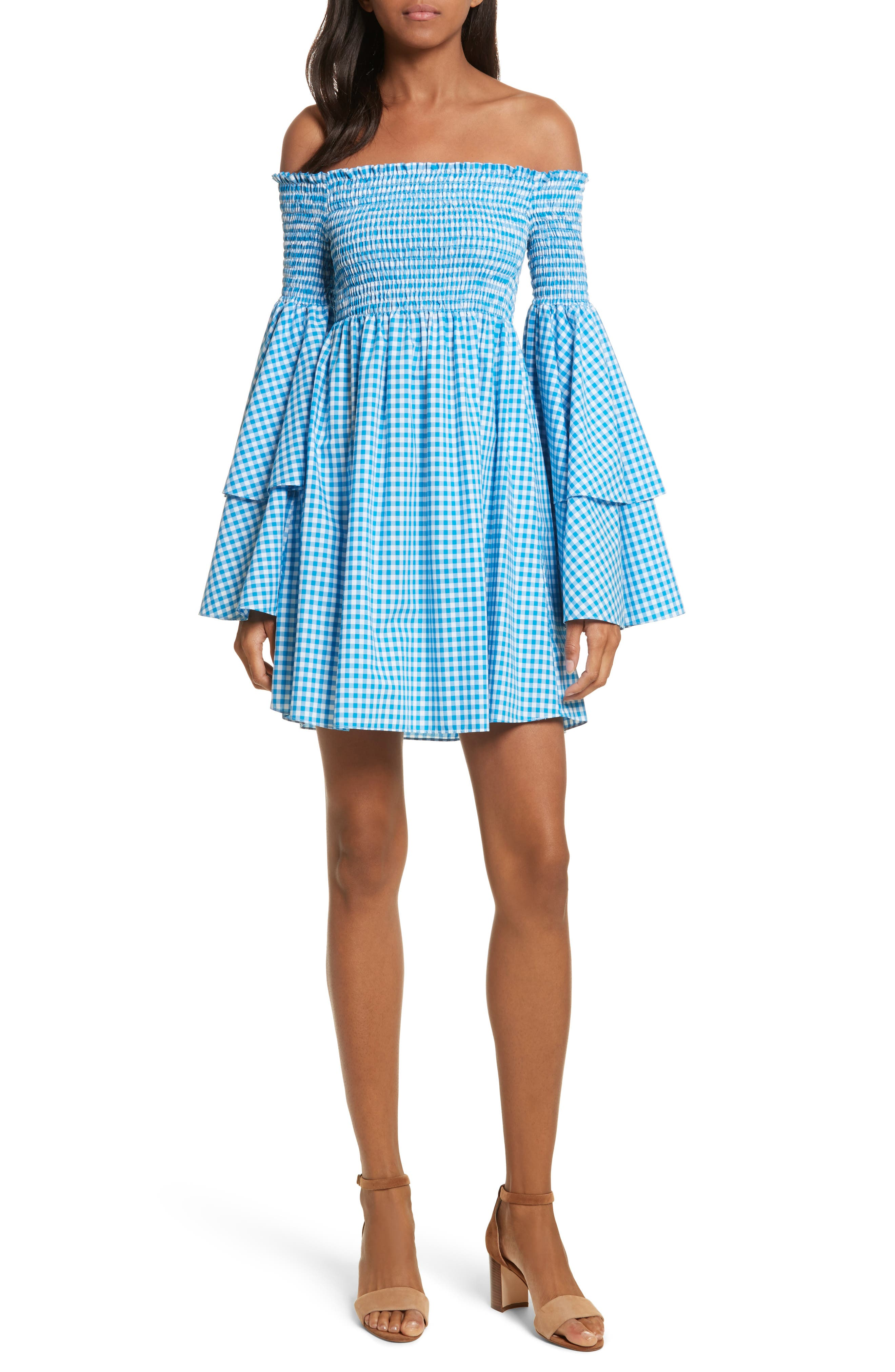 Appolonia Gingham Off the Shoulder Dress,                             Main thumbnail 1, color,                             Turquoise
