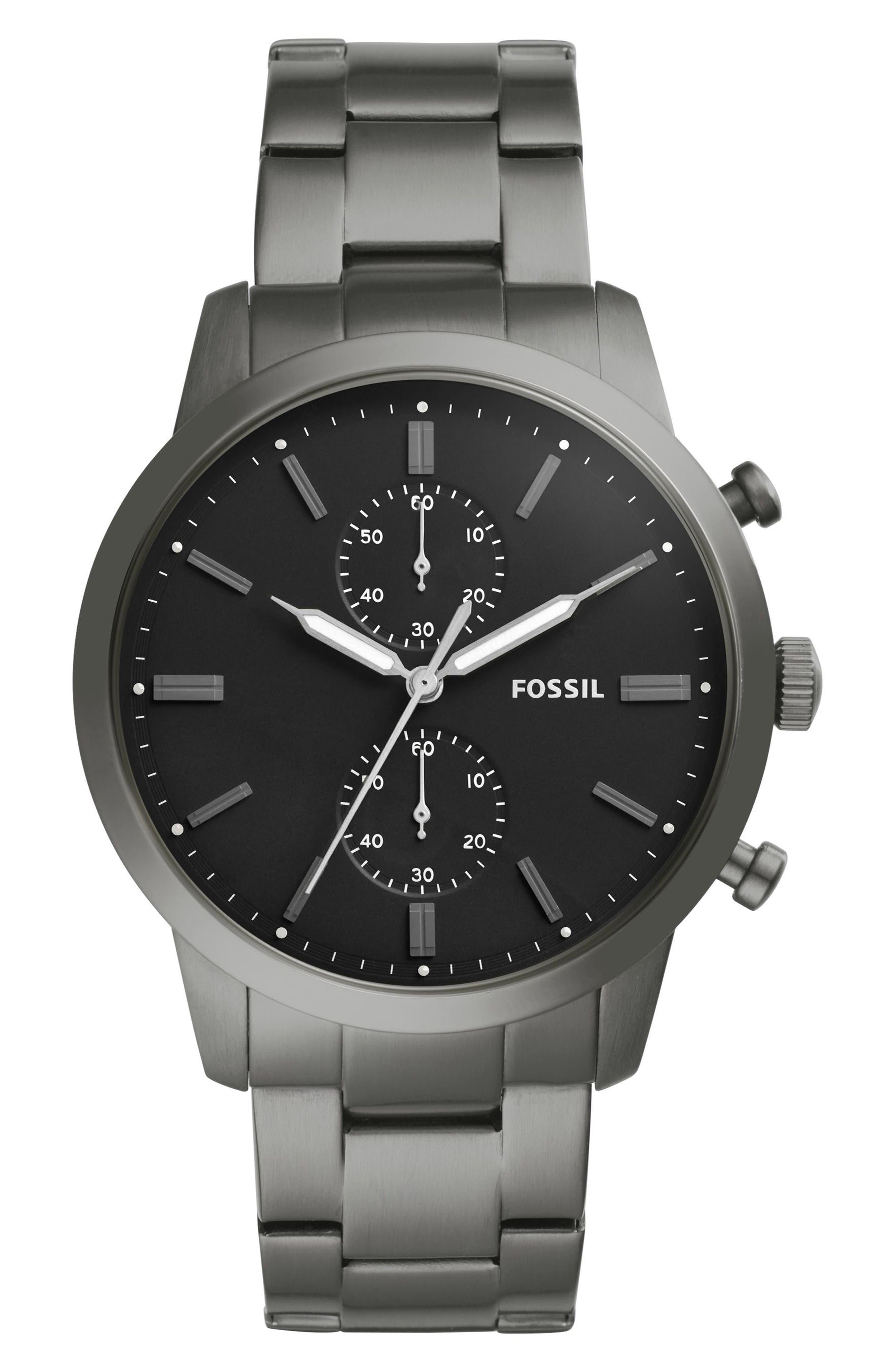 Townsman Chronograph Bracelet Watch, 44mm,                             Main thumbnail 1, color,                             Grey/ Black/ Smoke