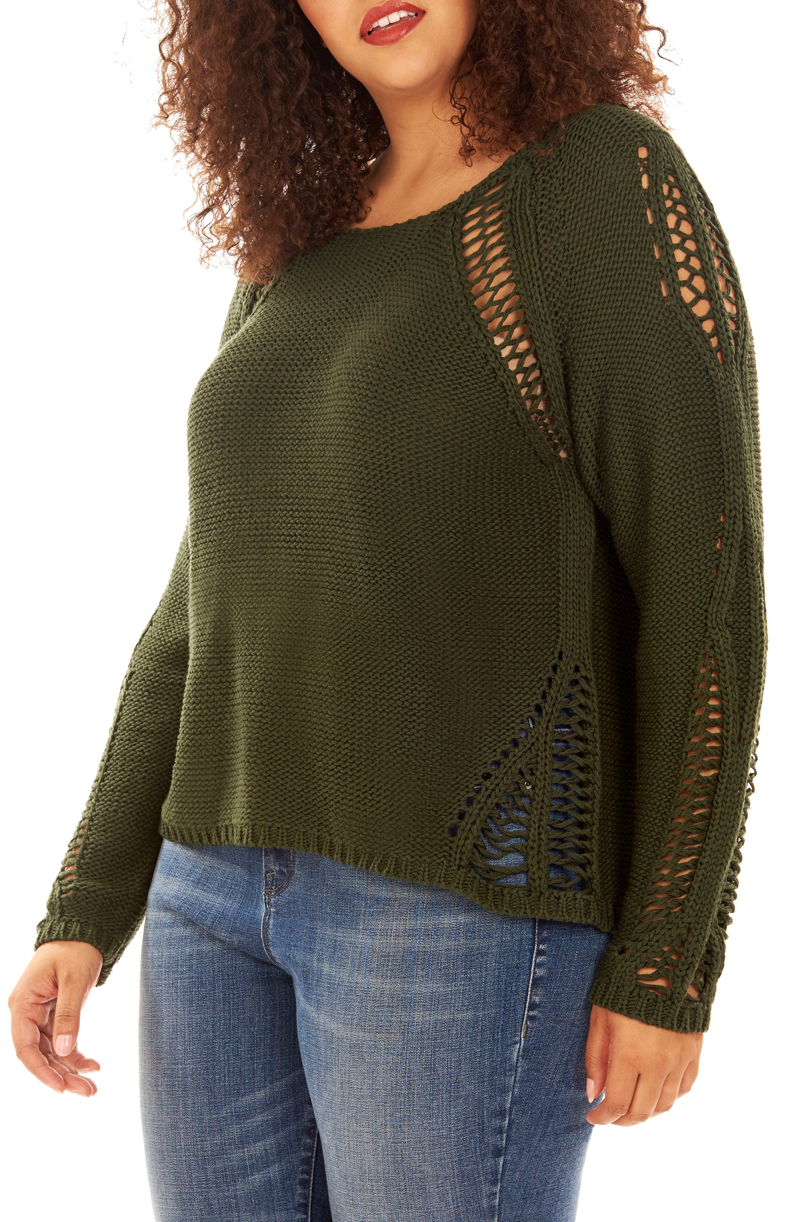 Alternate Image 1 Selected - Rebel Wilson x Angels Open Stitch Sweater (Plus Size)