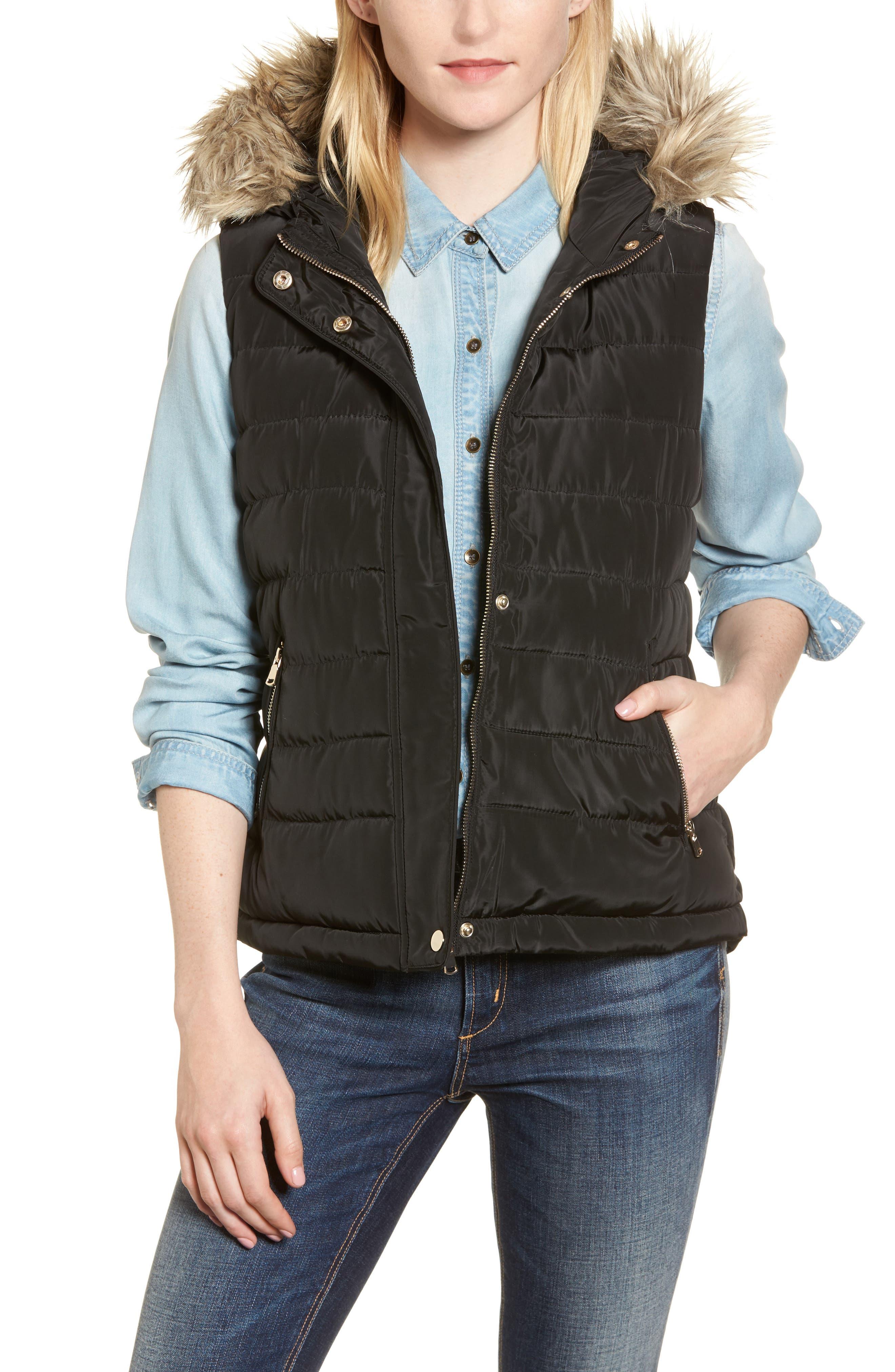 Faux Fur Trim Hooded Quilted Vest,                             Main thumbnail 1, color,                             Black