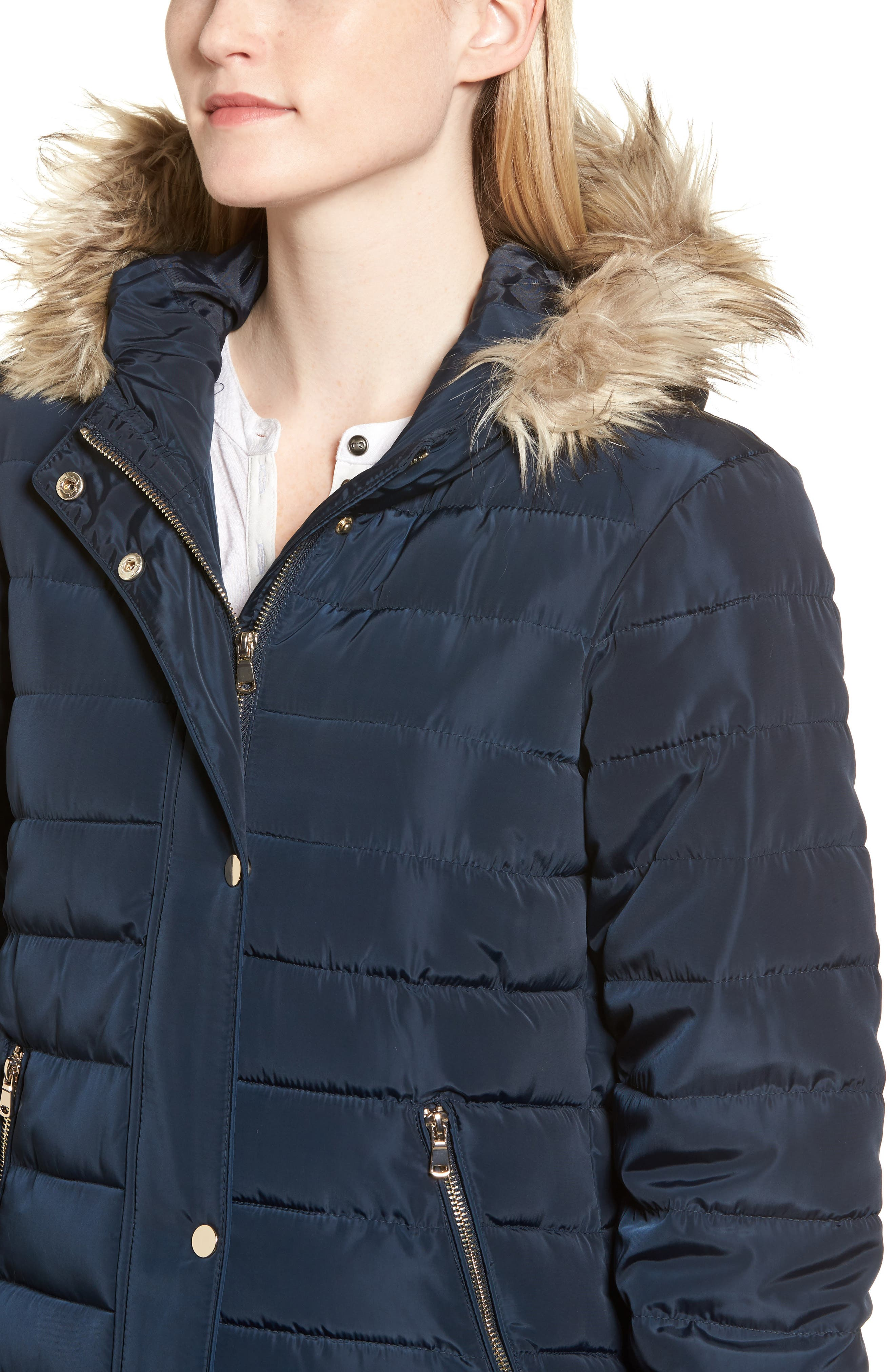 Faux Fur Trim Hooded Puffer Jacket,                             Alternate thumbnail 4, color,                             Navy