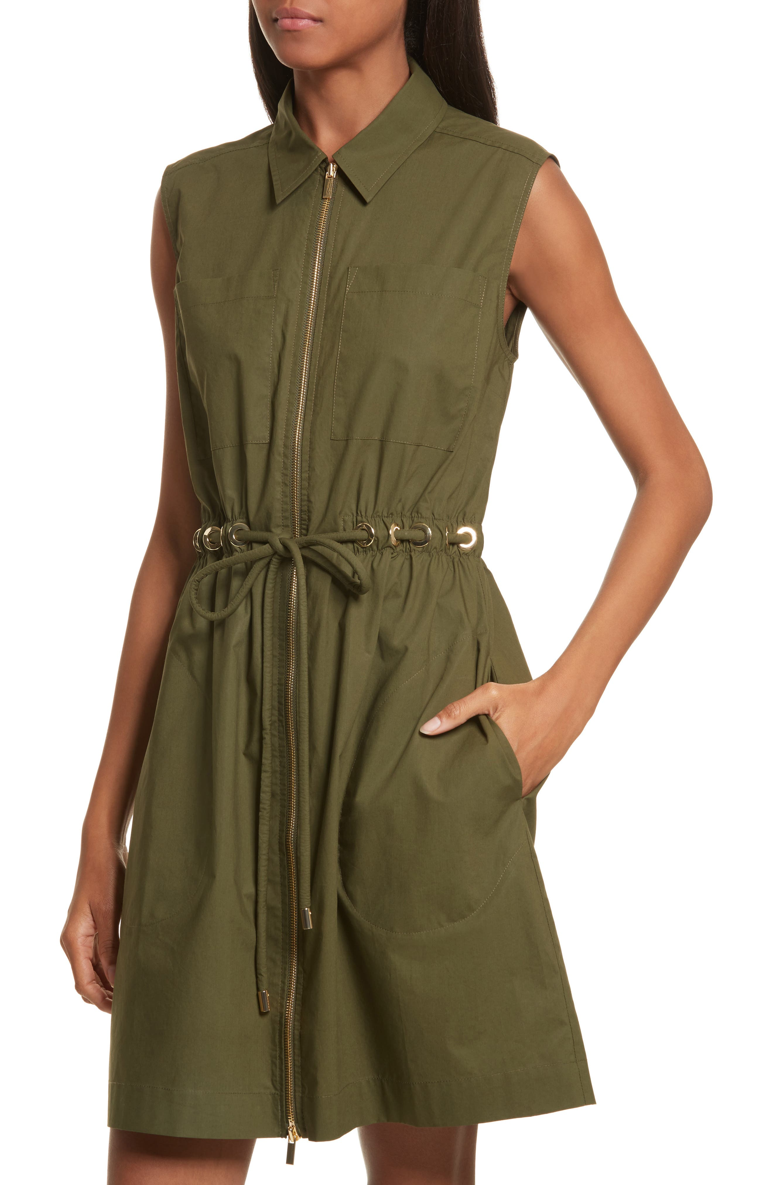 Zip Front Tunic Dress,                             Alternate thumbnail 3, color,                             Army Green