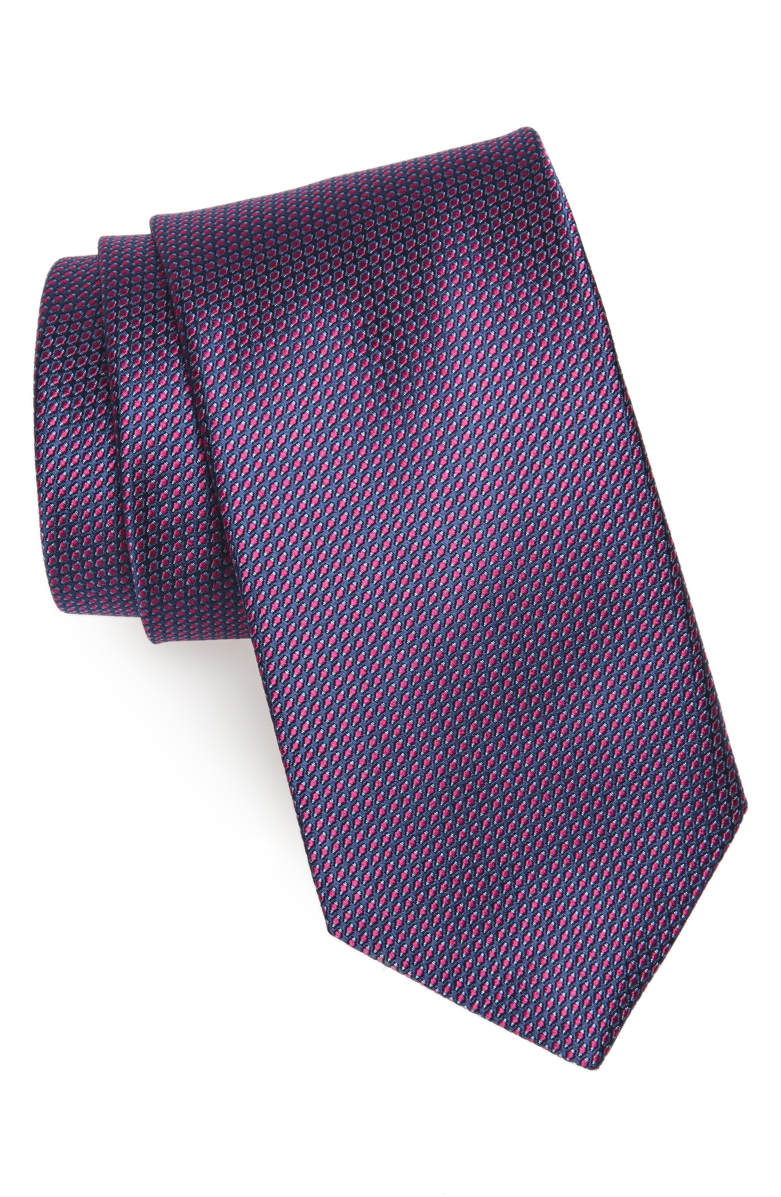 Solid Silk Tie,                         Main,                         color, Berry