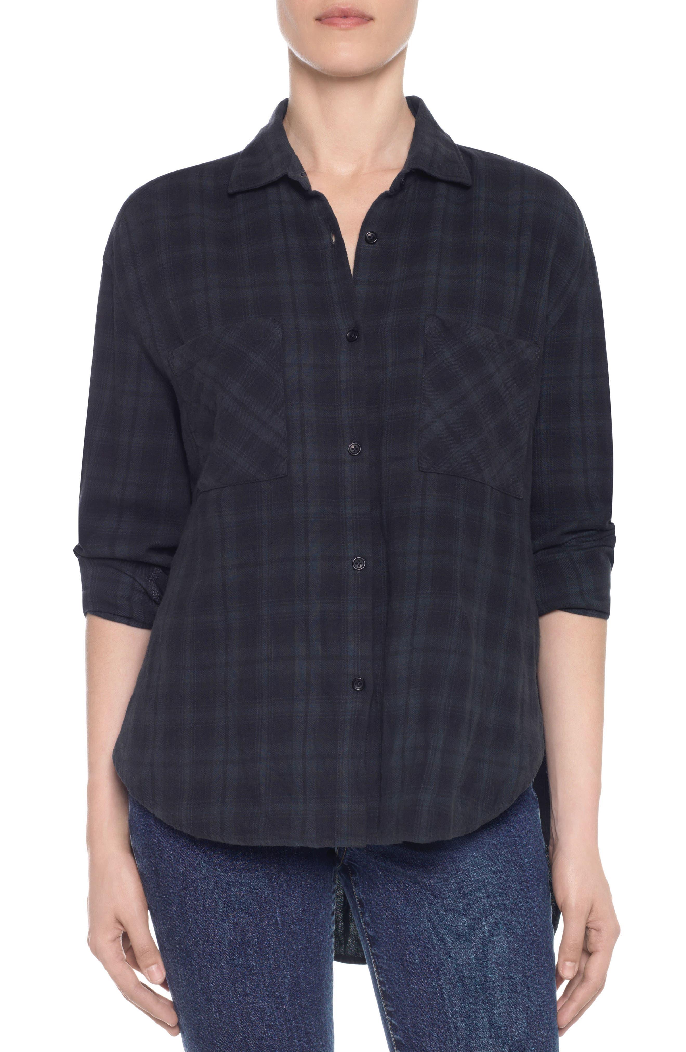 Taylor Hill x Joe's Boyfriend Flannel Shirt,                         Main,                         color, Twilight