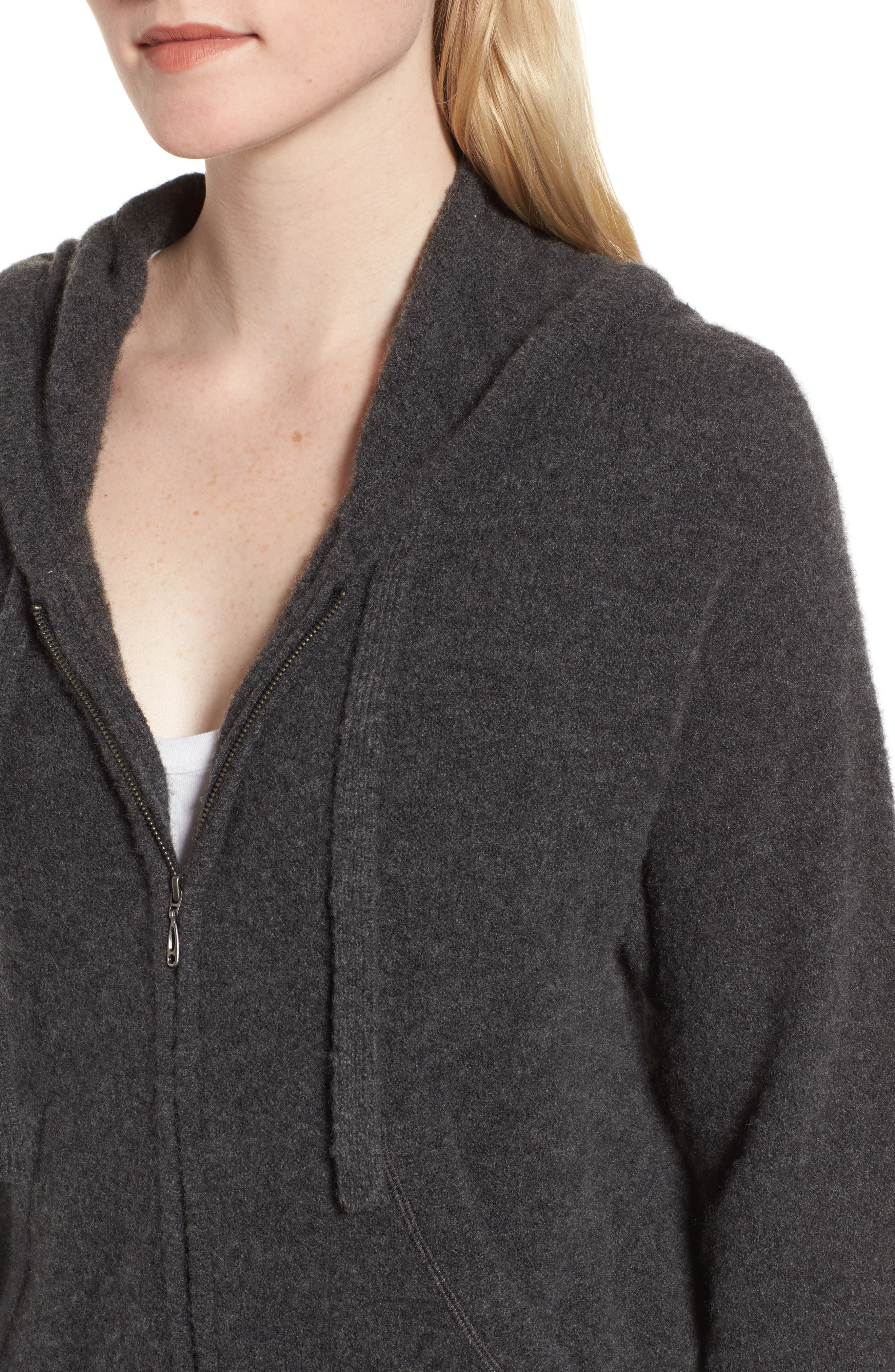 Brushed Cashmere Zip Hoodie,                             Alternate thumbnail 4, color,                             Charcoal