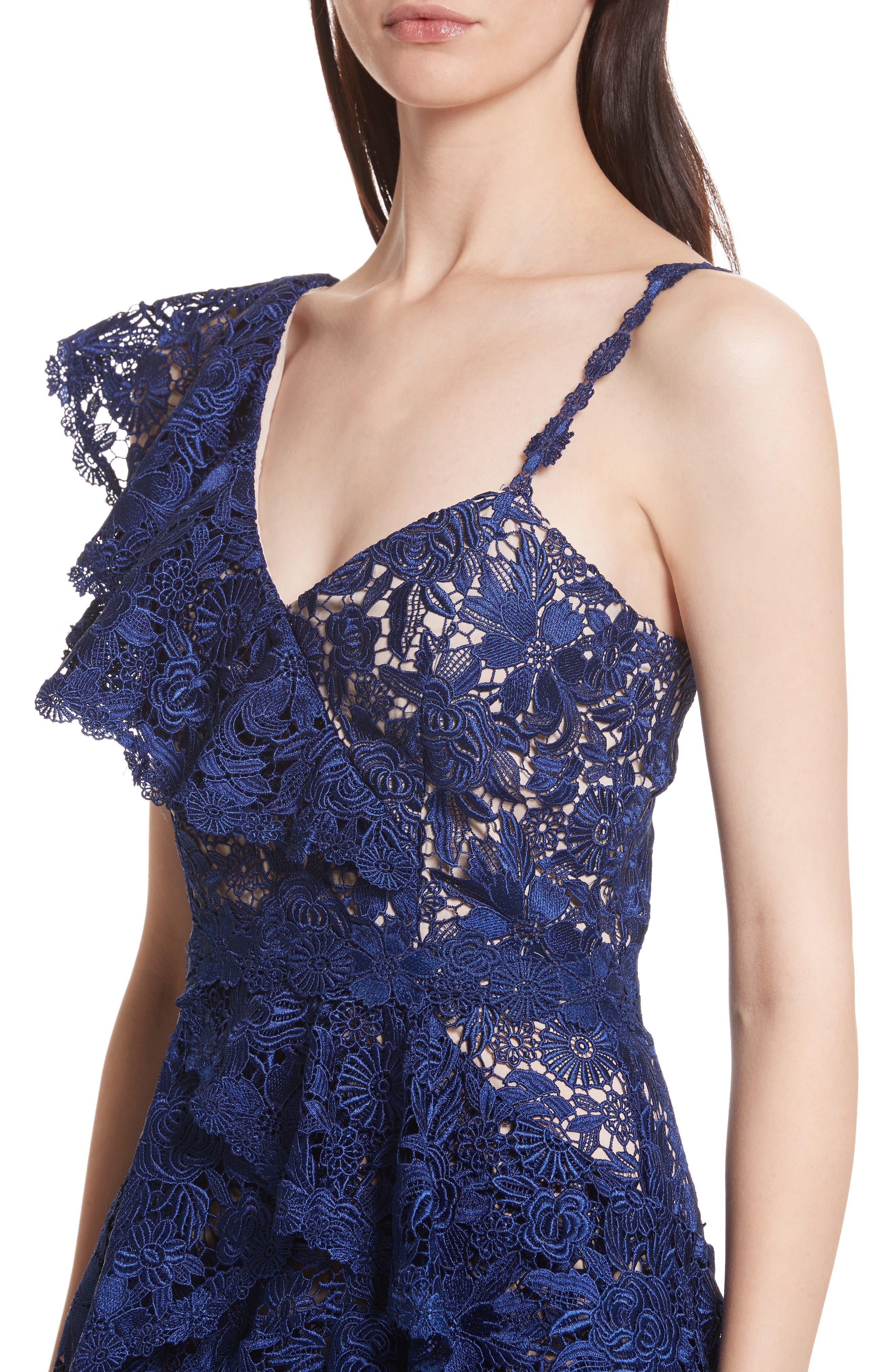 Florrie Ruffled Lace Midi Dress,                             Alternate thumbnail 4, color,                             Indigo/ Nude