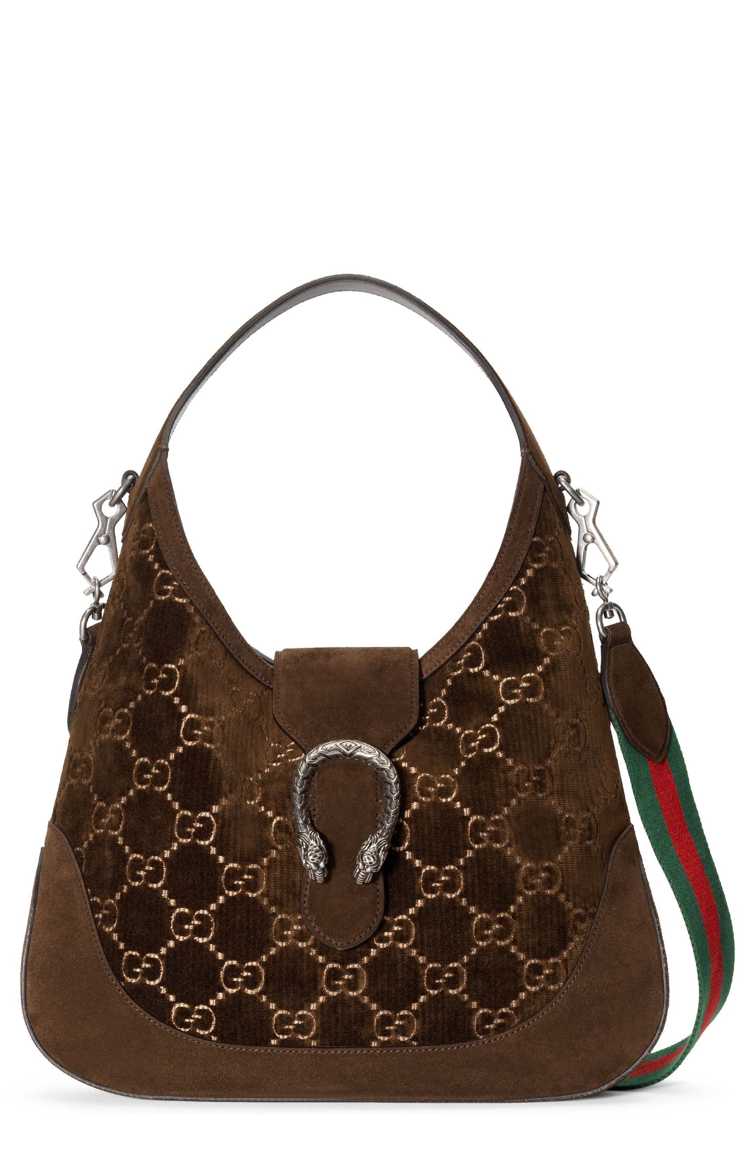 Medium Dionysus GG Velvet Hobo,                         Main,                         color, Brown/ Vert Red Vert