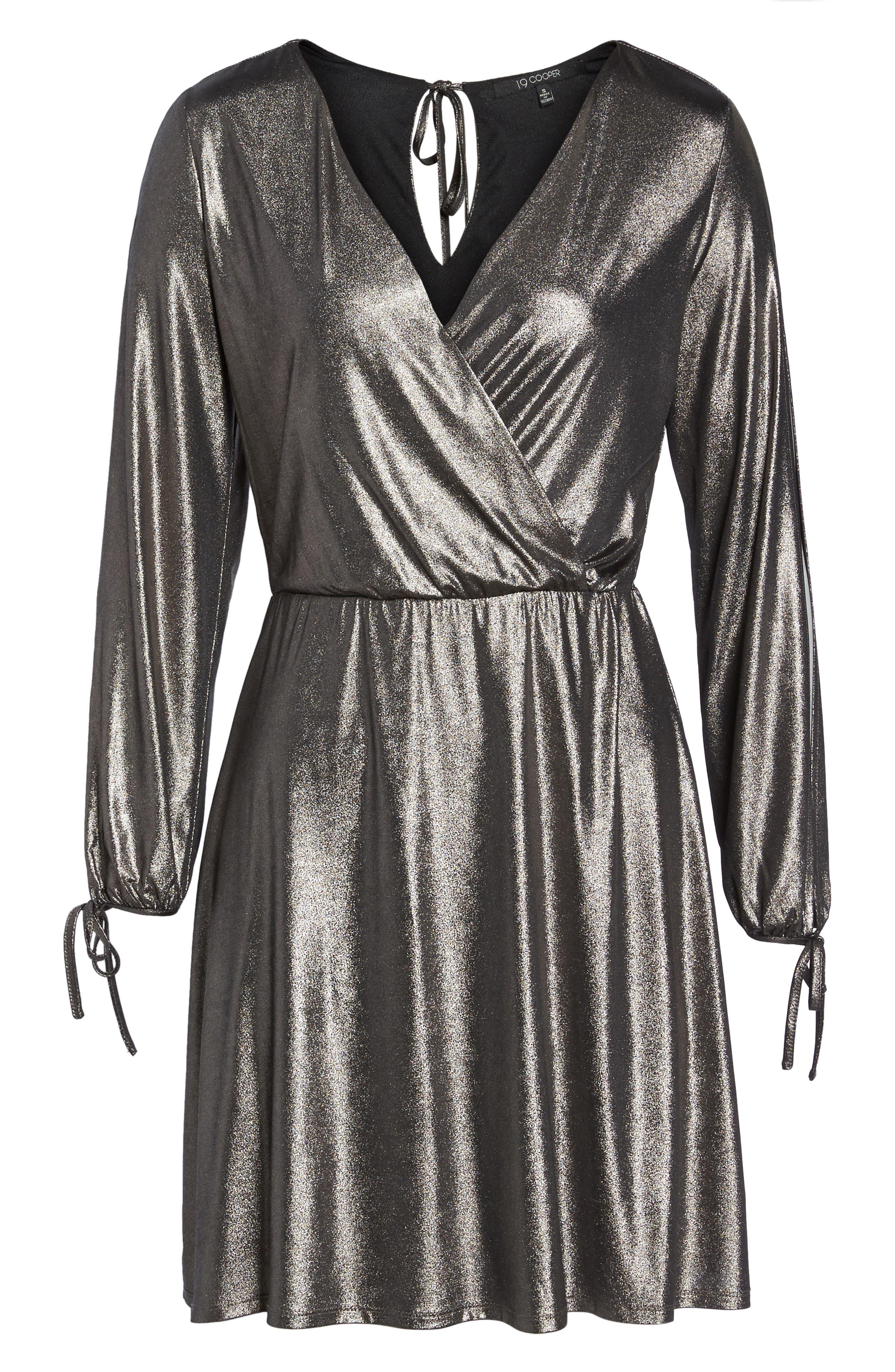 Metallic Faux Wrap Dress,                             Alternate thumbnail 6, color,                             Metallic Grey