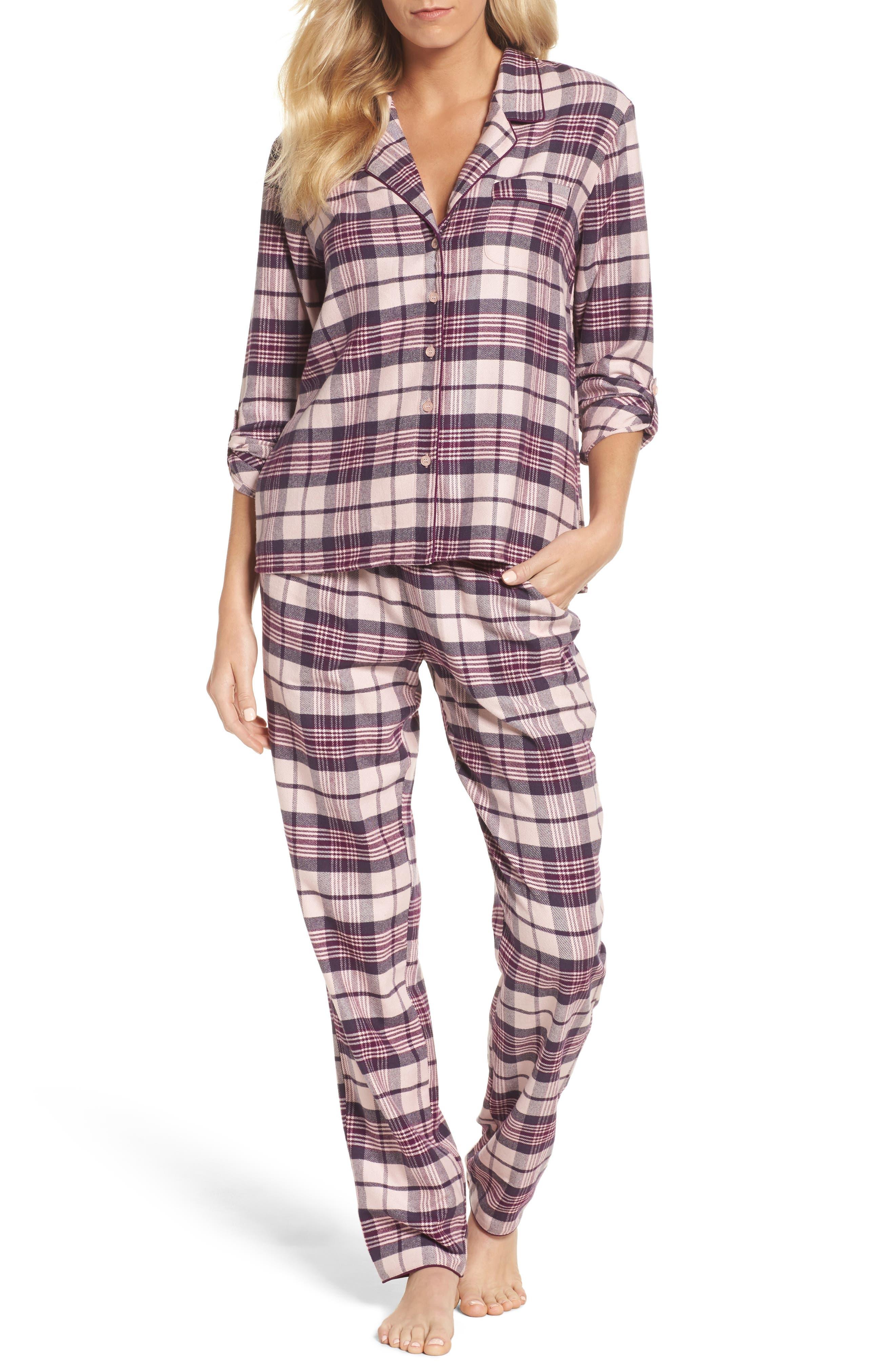 Lingerie Starlight Flannel Pajamas,                             Main thumbnail 1, color,                             Pink Peony Bud Tonal Tartan