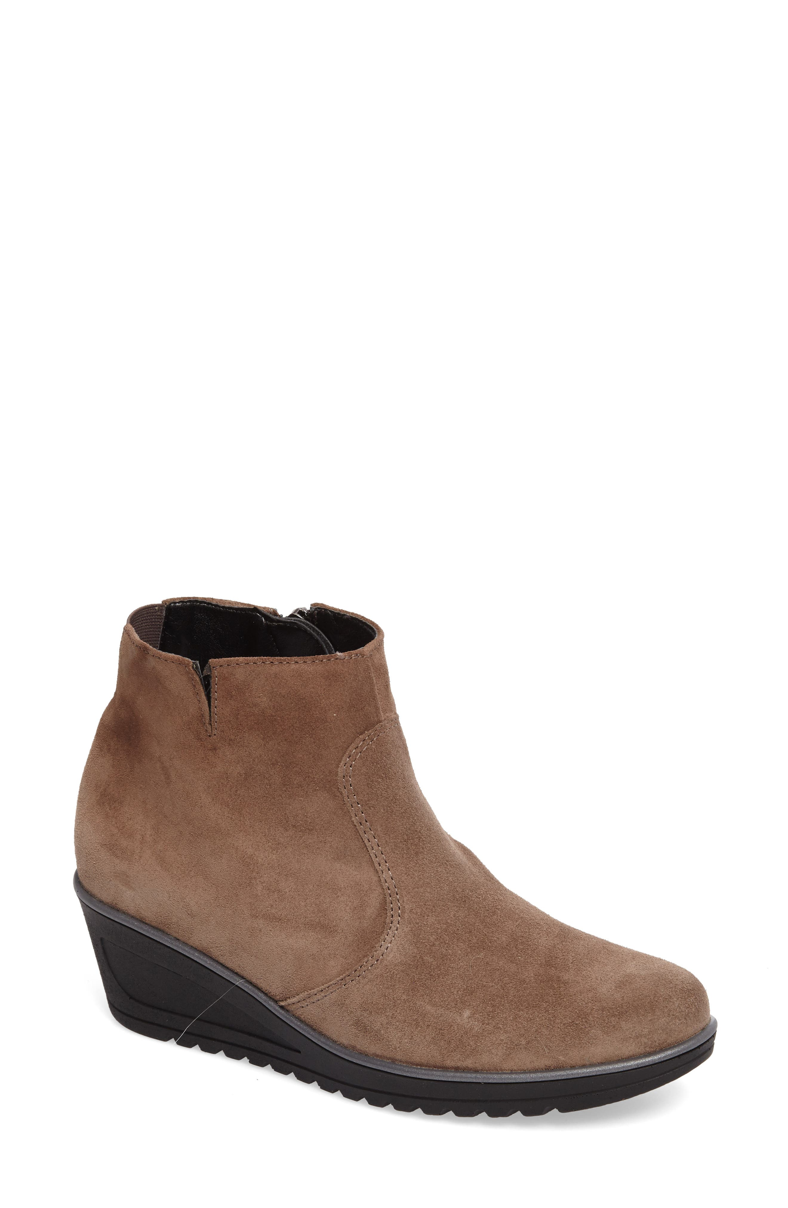 Hessa Wedge Bootie,                             Main thumbnail 1, color,                             Teak Suede