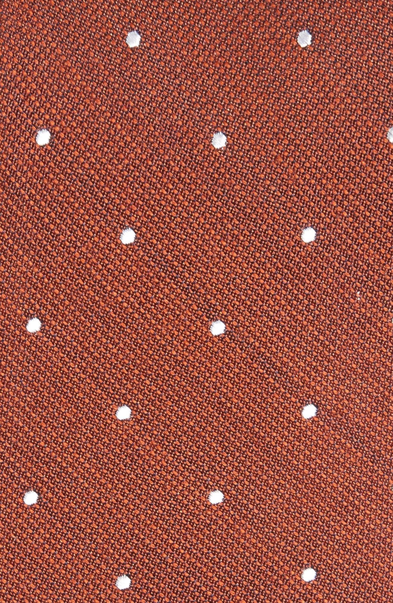 Dotted Report Silk & Wool Tie,                             Alternate thumbnail 2, color,                             Burnt Orange