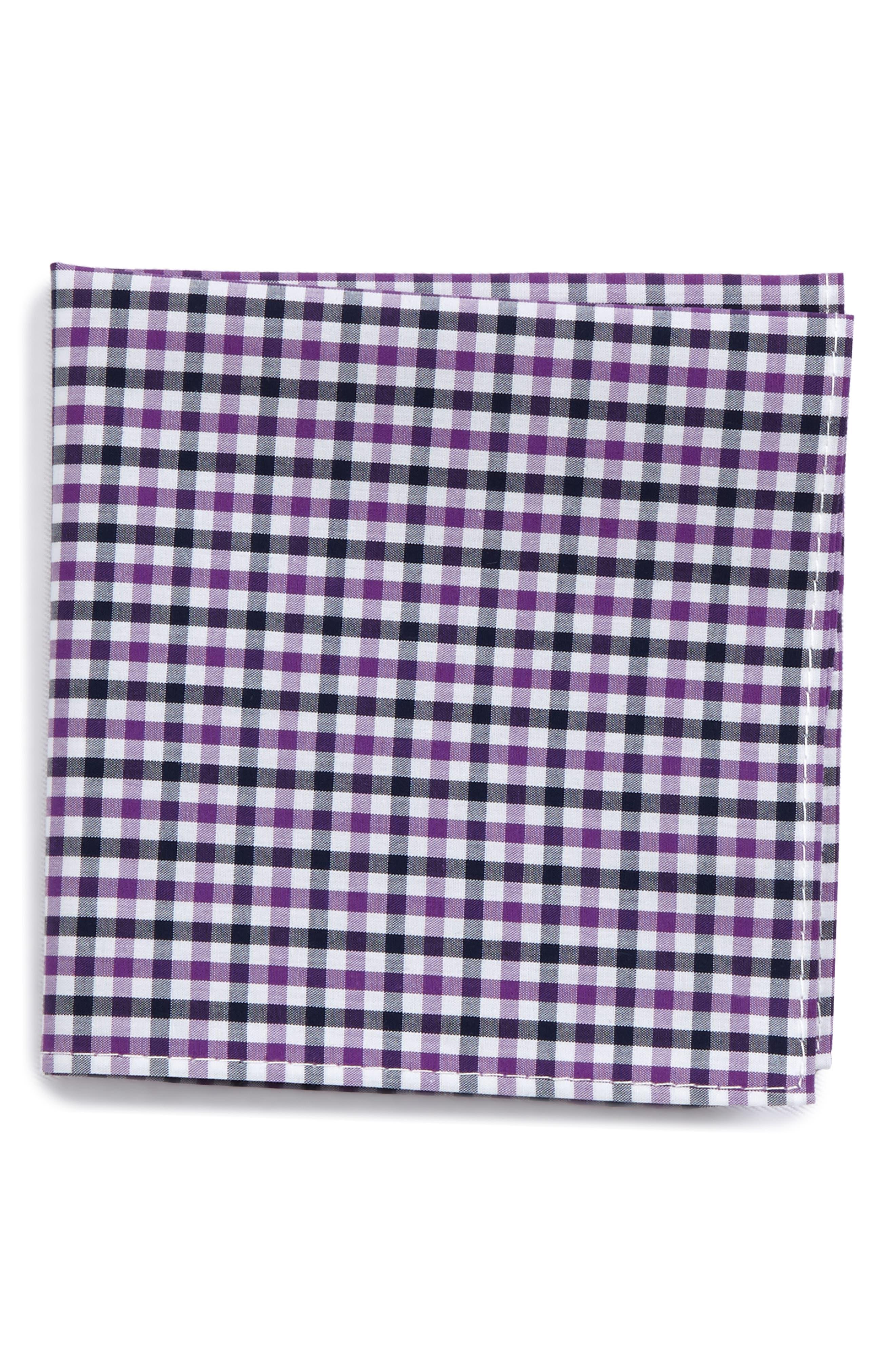Check Silk Pocket Square,                         Main,                         color, Berry