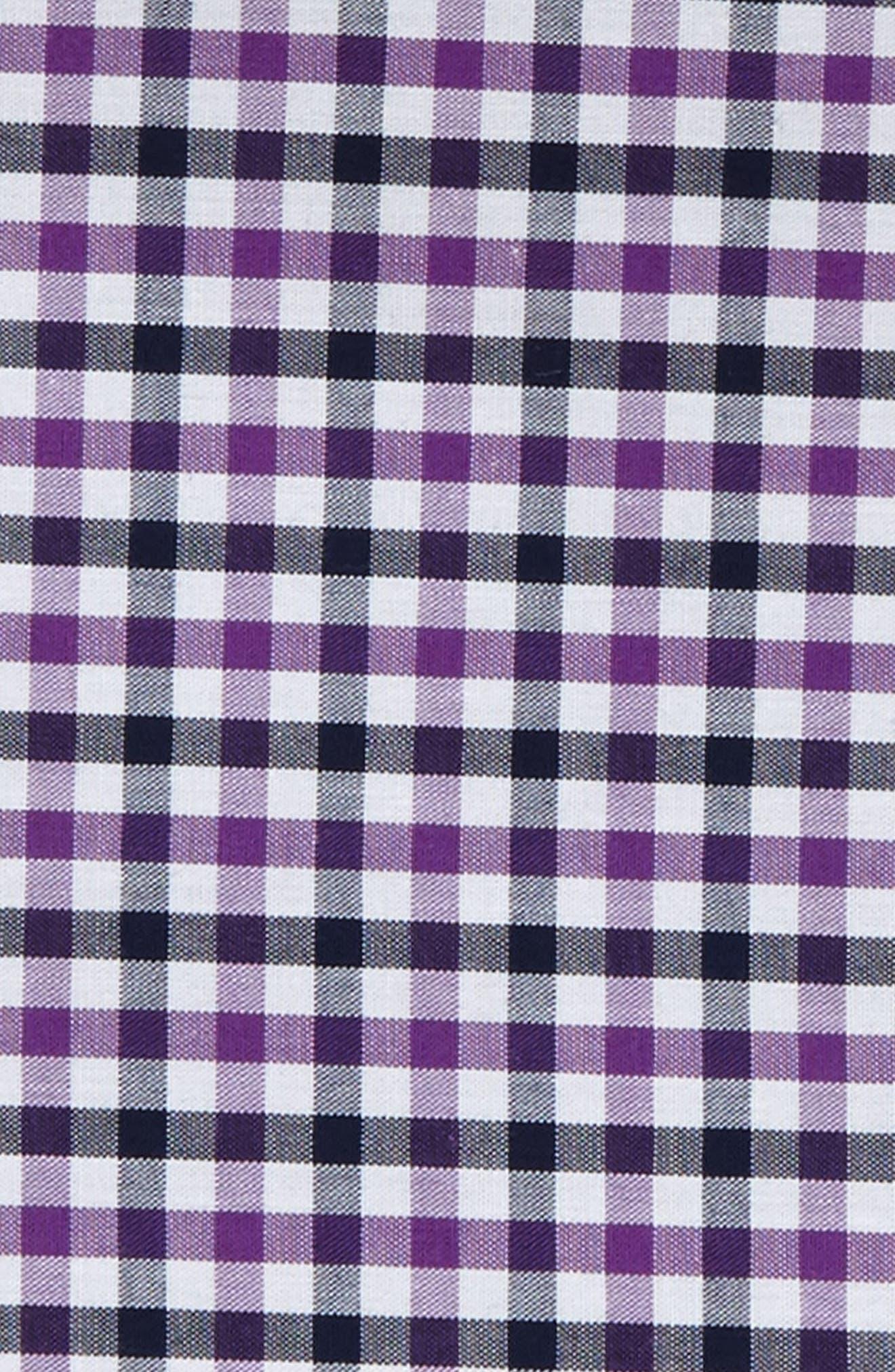 Check Silk Pocket Square,                             Alternate thumbnail 3, color,                             Berry