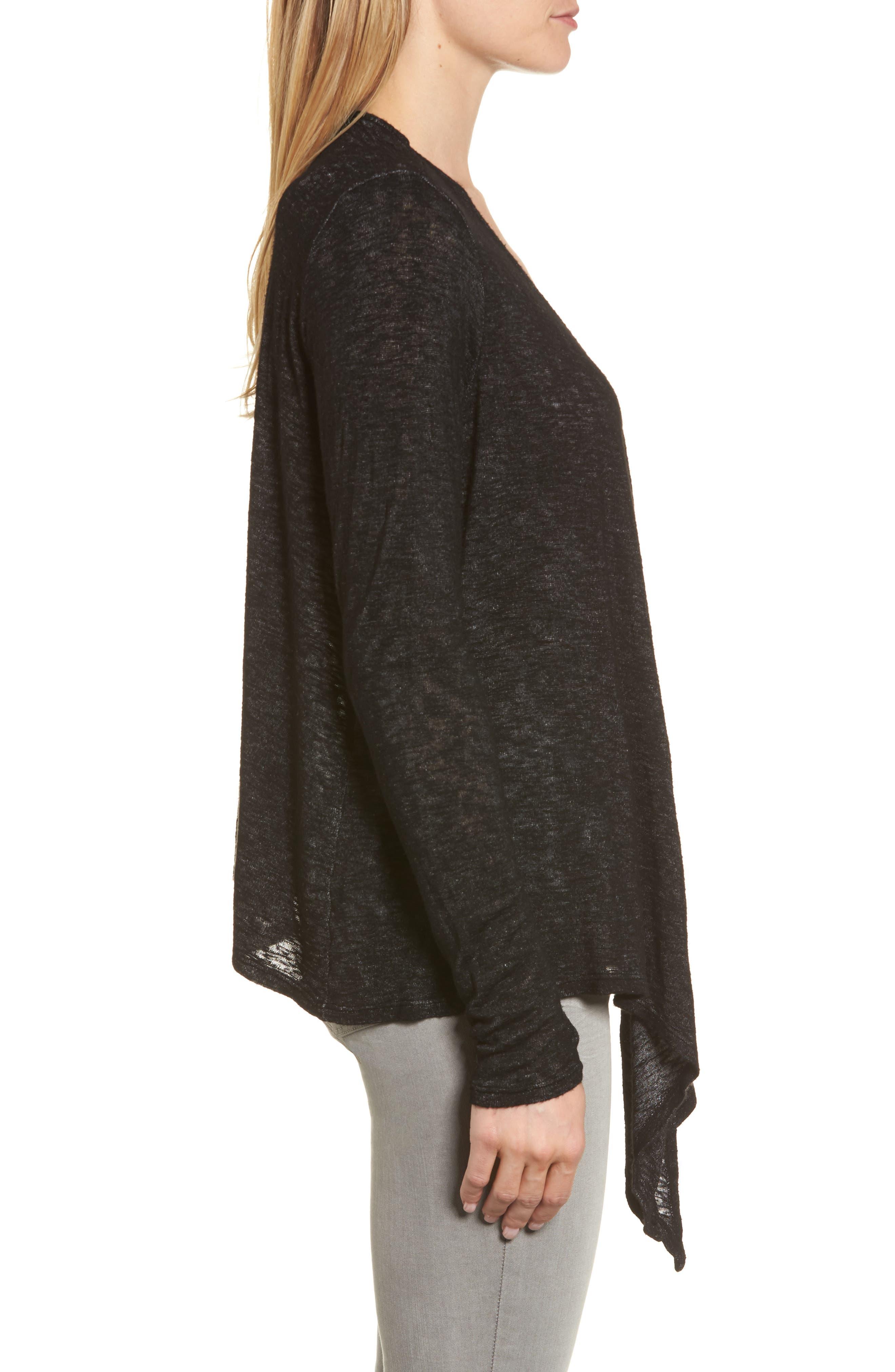 Textured Knit Ballet Tie Cardigan,                             Alternate thumbnail 3, color,                             Black