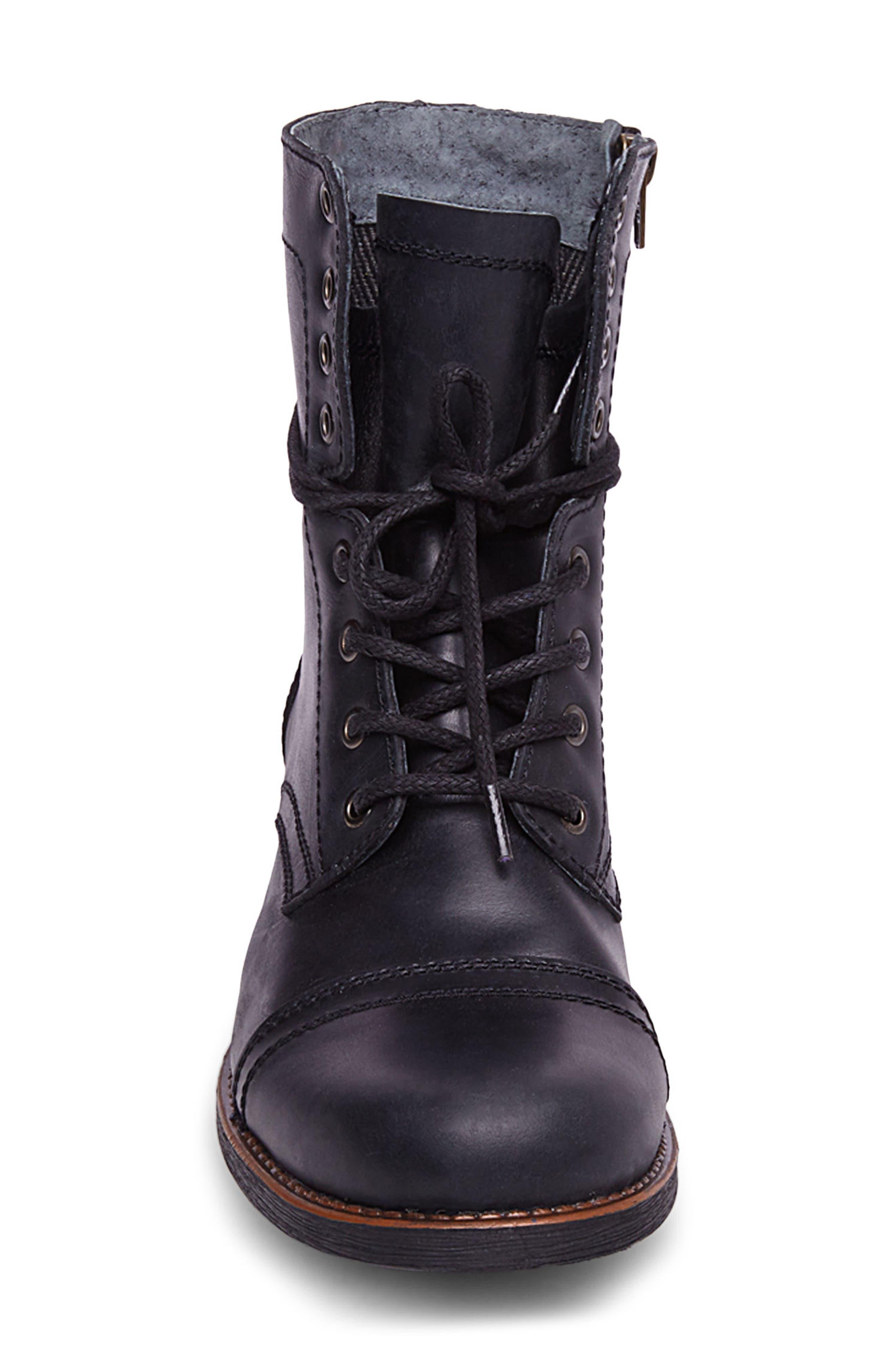 Troopah-C Cap Toe Boot,                             Alternate thumbnail 4, color,                             Black Leather