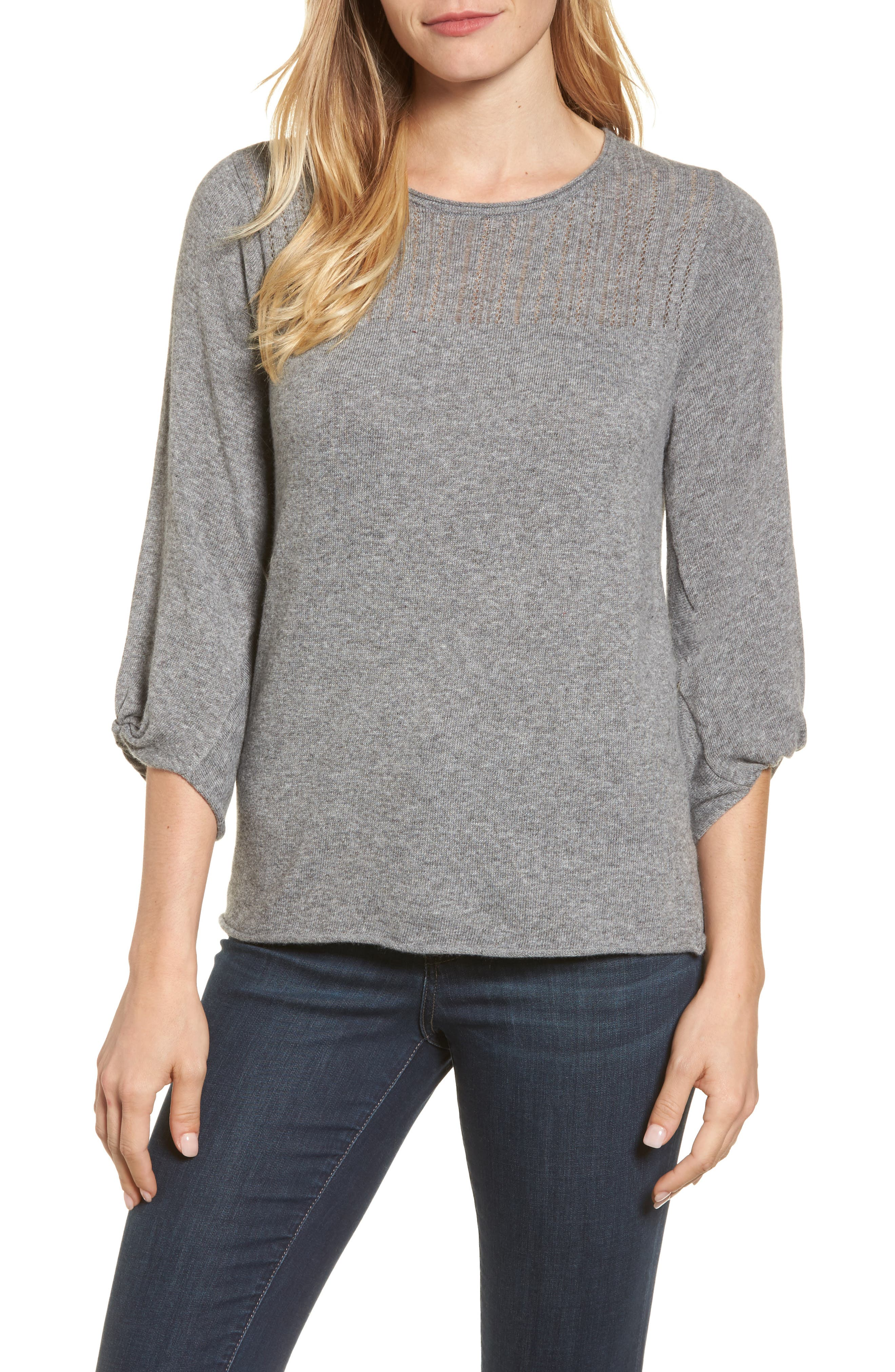Pointelle Yoke Sweater,                         Main,                         color, Heather Grey
