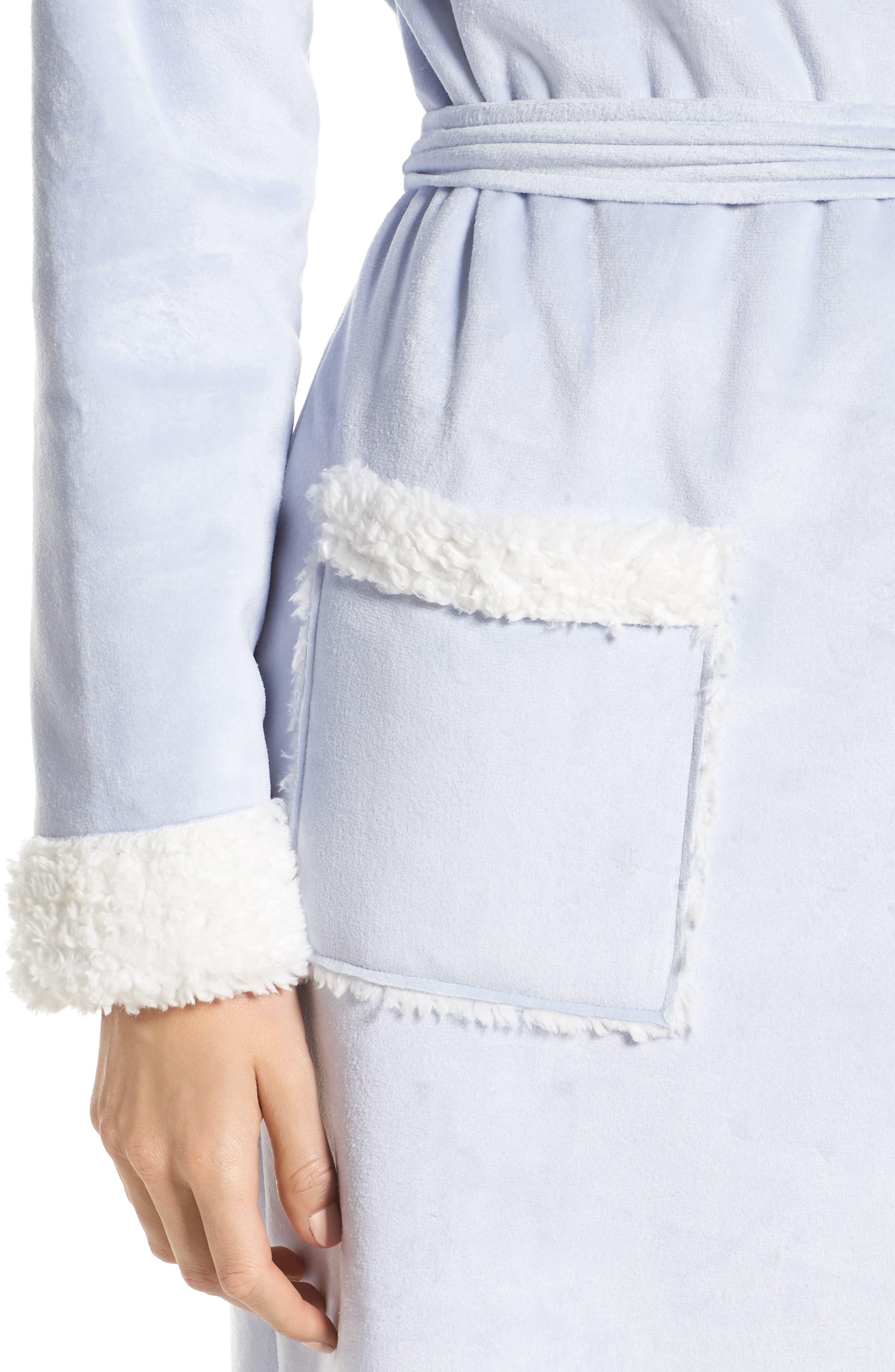 Wintertide Plush Robe,                             Alternate thumbnail 5, color,                             Blue Xenon