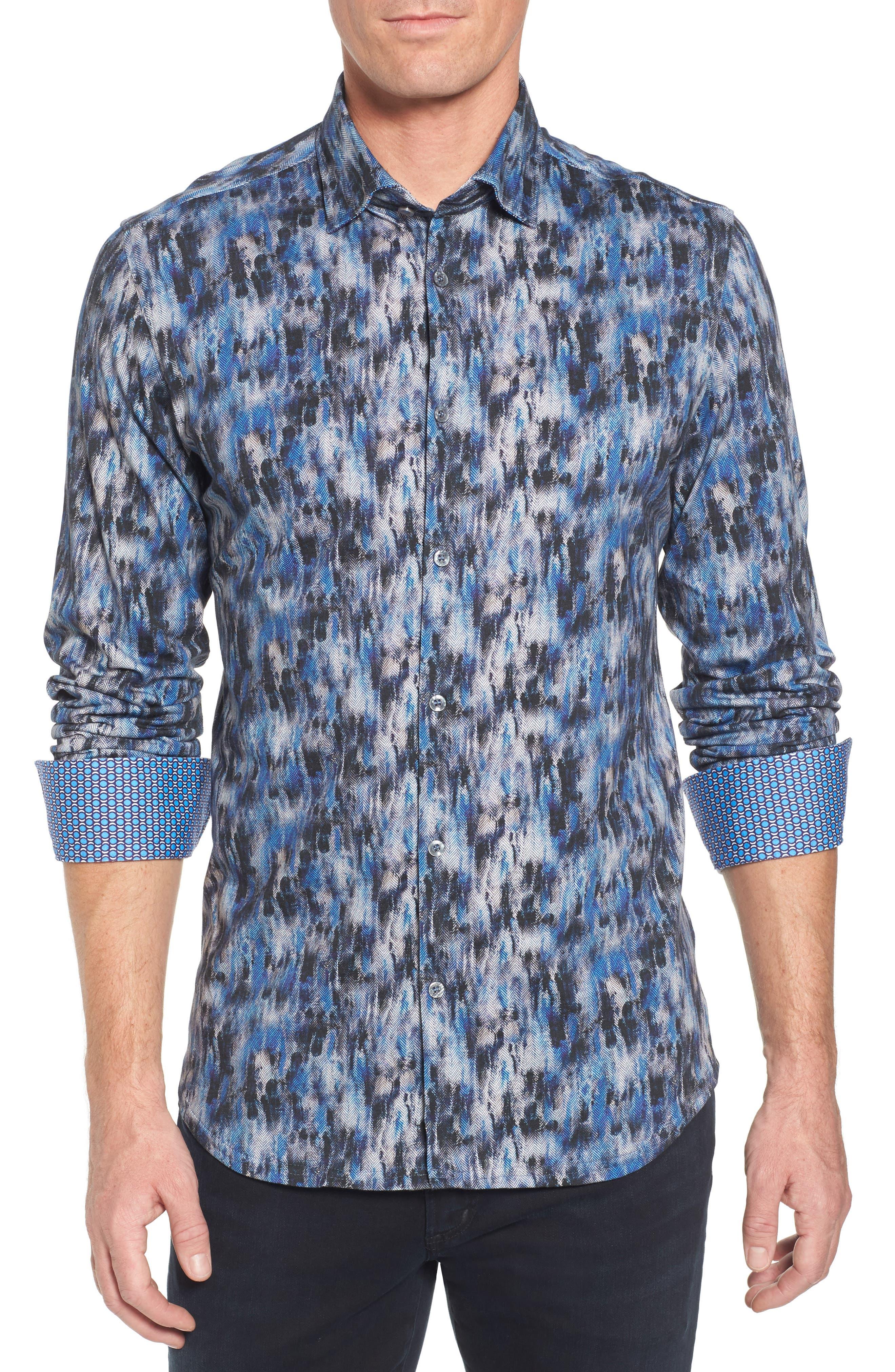 Slim Fit Herringbone FX Sport Shirt,                         Main,                         color, Electric Blue