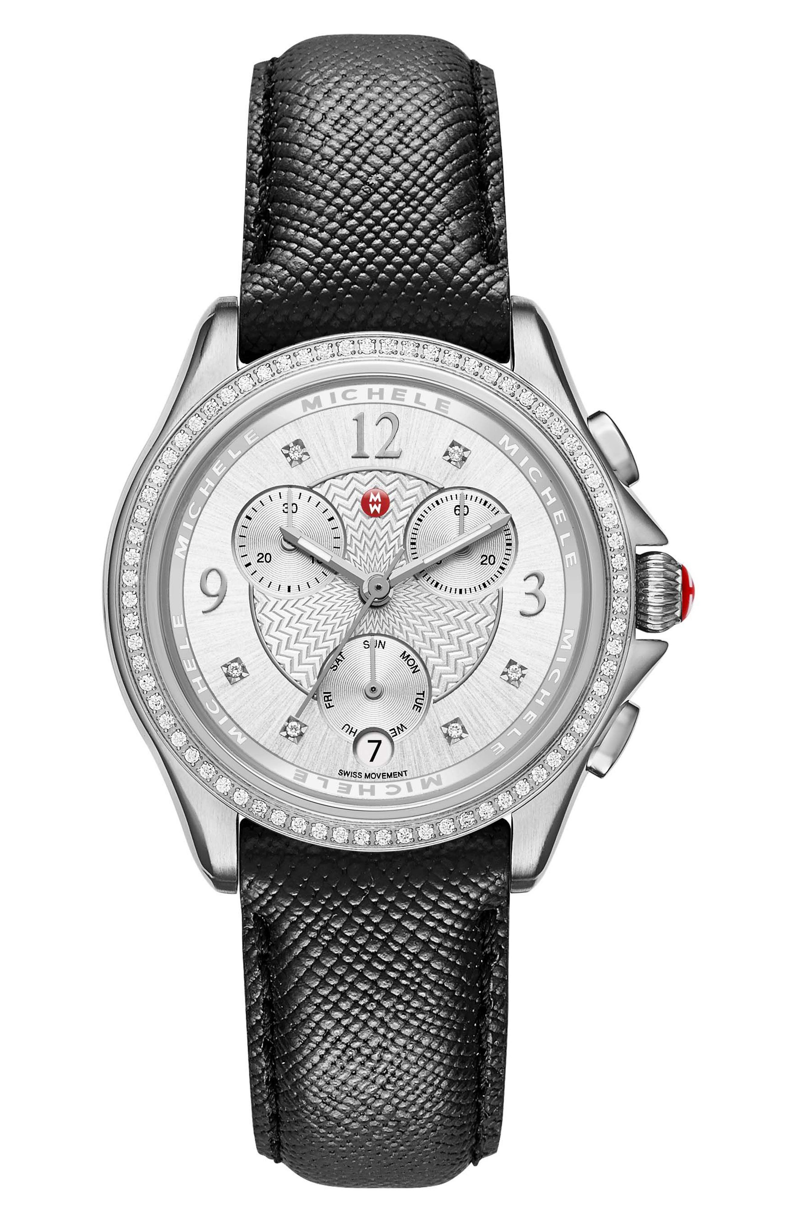 MICHELE Belmore Diamond Chronograph Leather Strap Watch, 37mm