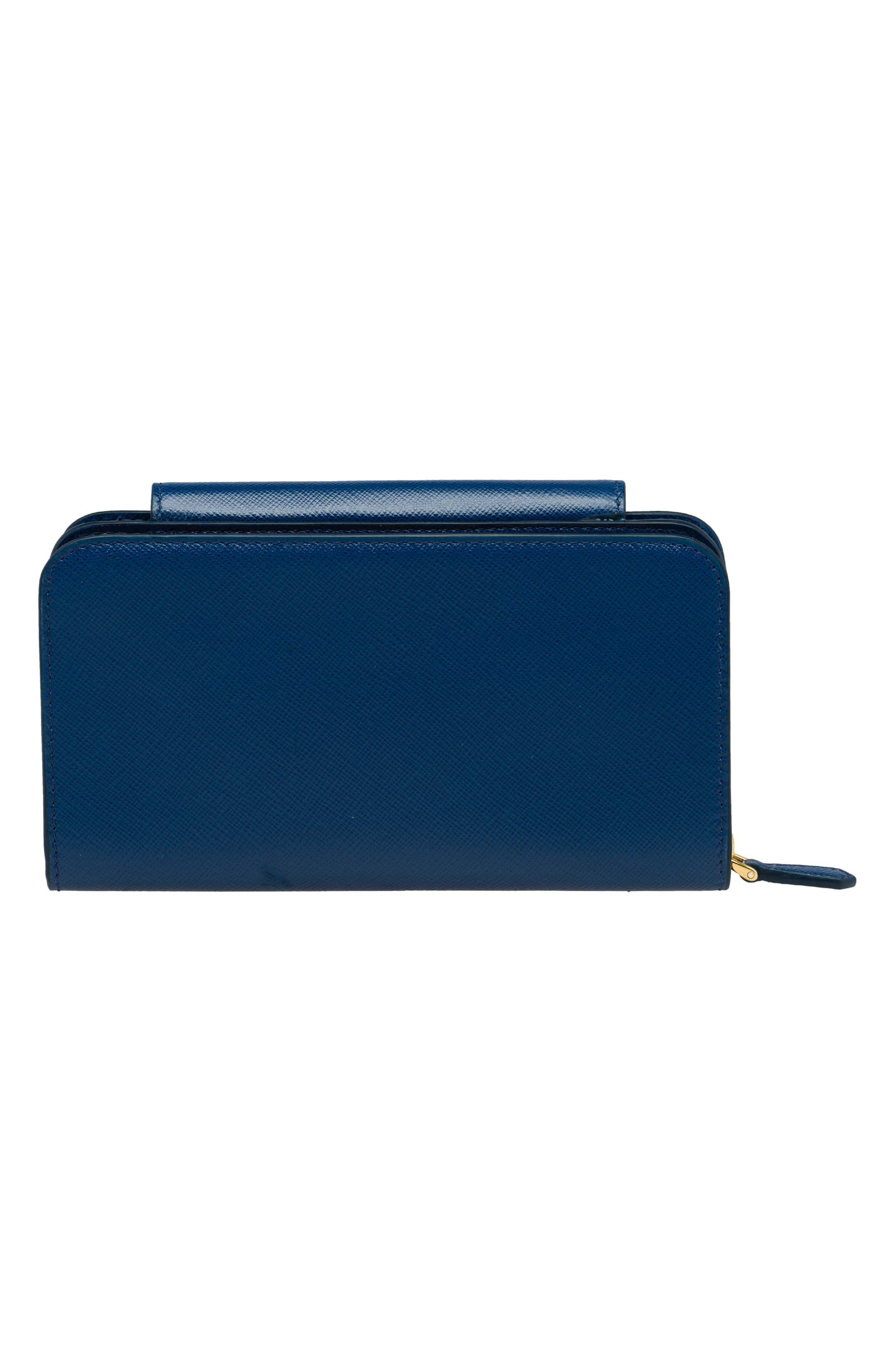 Saffiano Leather Metal Oral Phone Wallet on a Chain,                             Alternate thumbnail 3, color,                             Bluette