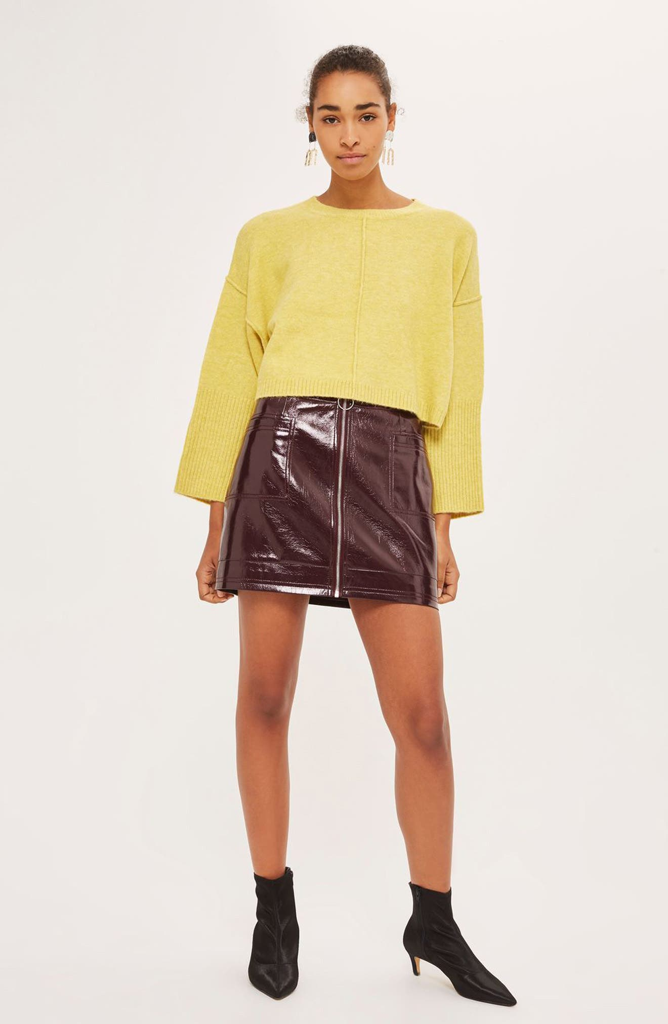 Wide Sleeve Crop Sweater,                             Alternate thumbnail 2, color,                             Yellow