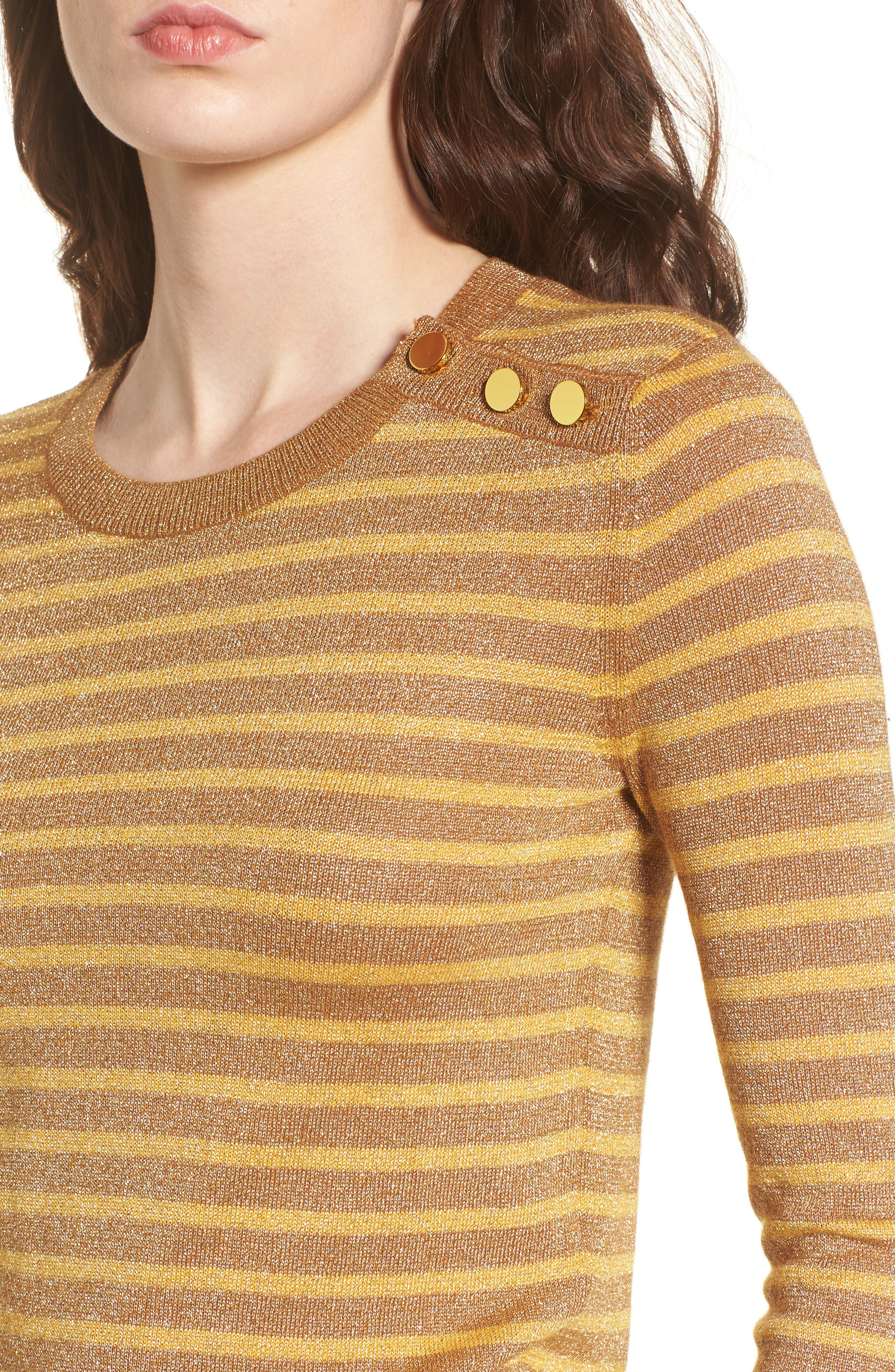 Sparkle Stripe Sweater,                             Alternate thumbnail 4, color,                             Yellow Mineral Combo
