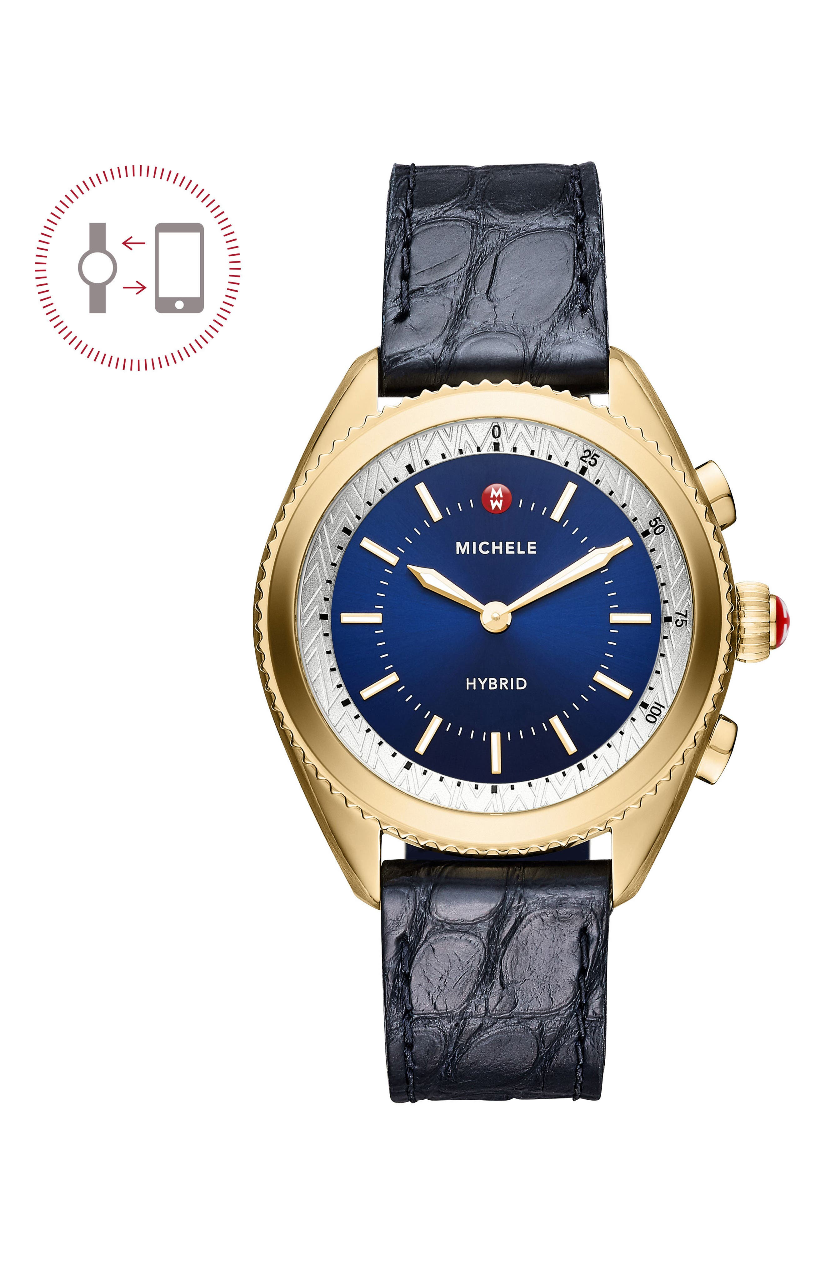 Hybrid Tracker Watch, 38mm,                             Main thumbnail 1, color,                             Navy/ Gold