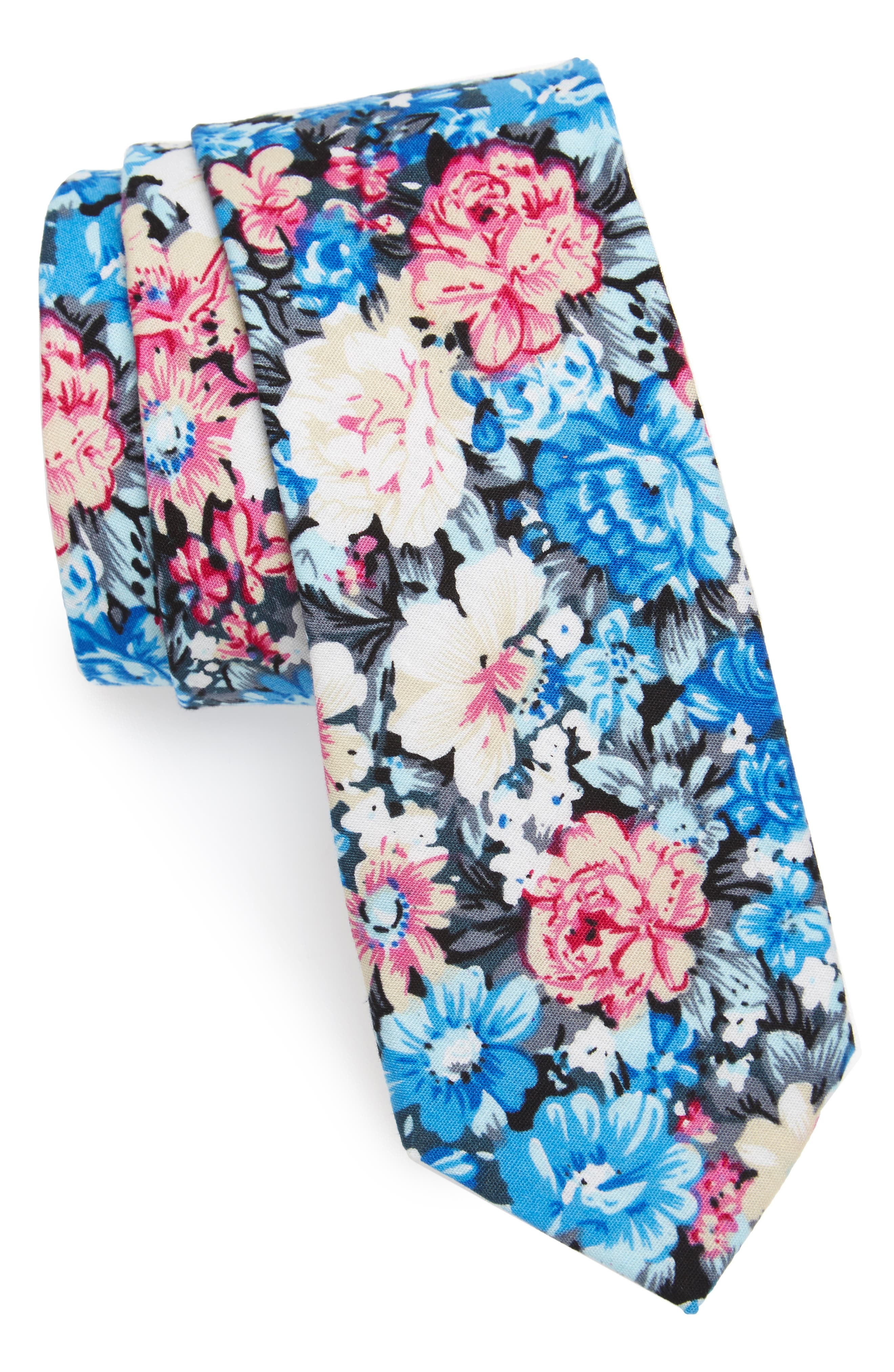 1901 Garnet Floral Print Cotton Skinny Tie