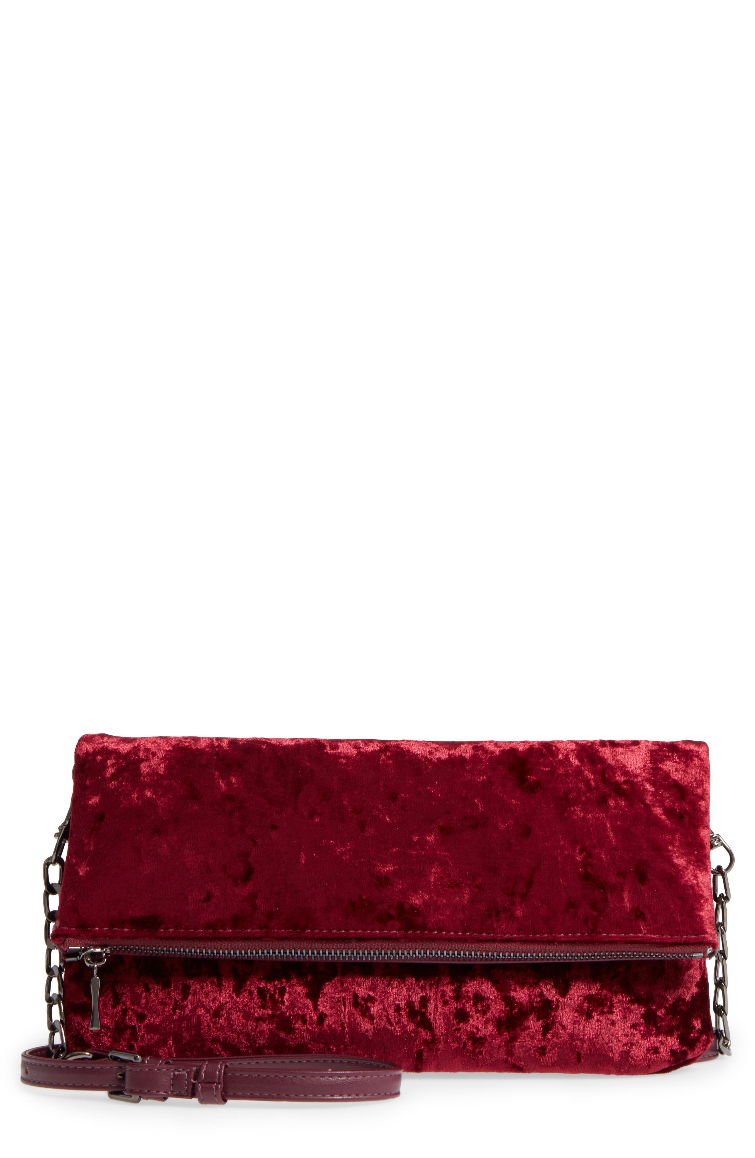 Sole Society Velvet Foldover Clutch