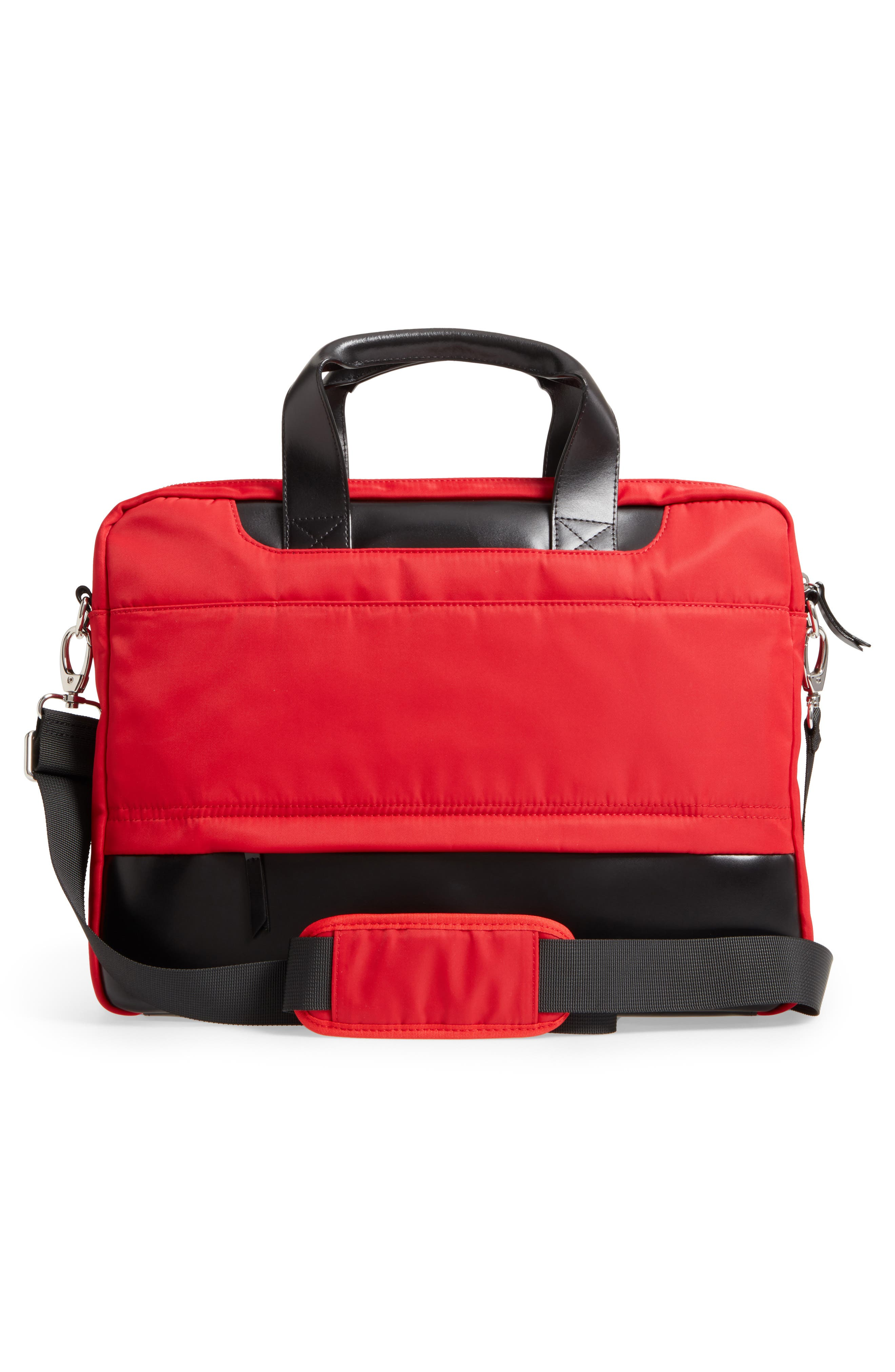 Kate Under Lock & Key Alexus Nylon & Leather Briefcase,                             Alternate thumbnail 3, color,                             Red