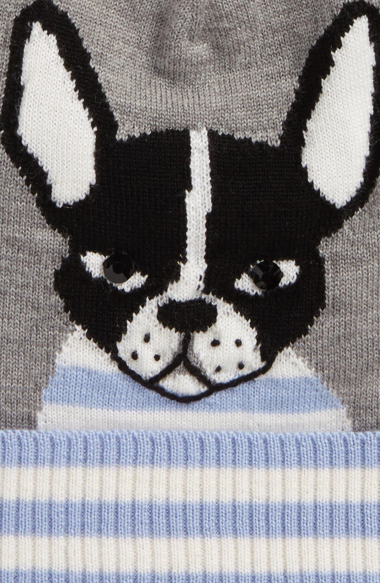 intarsia french bulldog wool beanie,                             Alternate thumbnail 3, color,                             Heather Grey