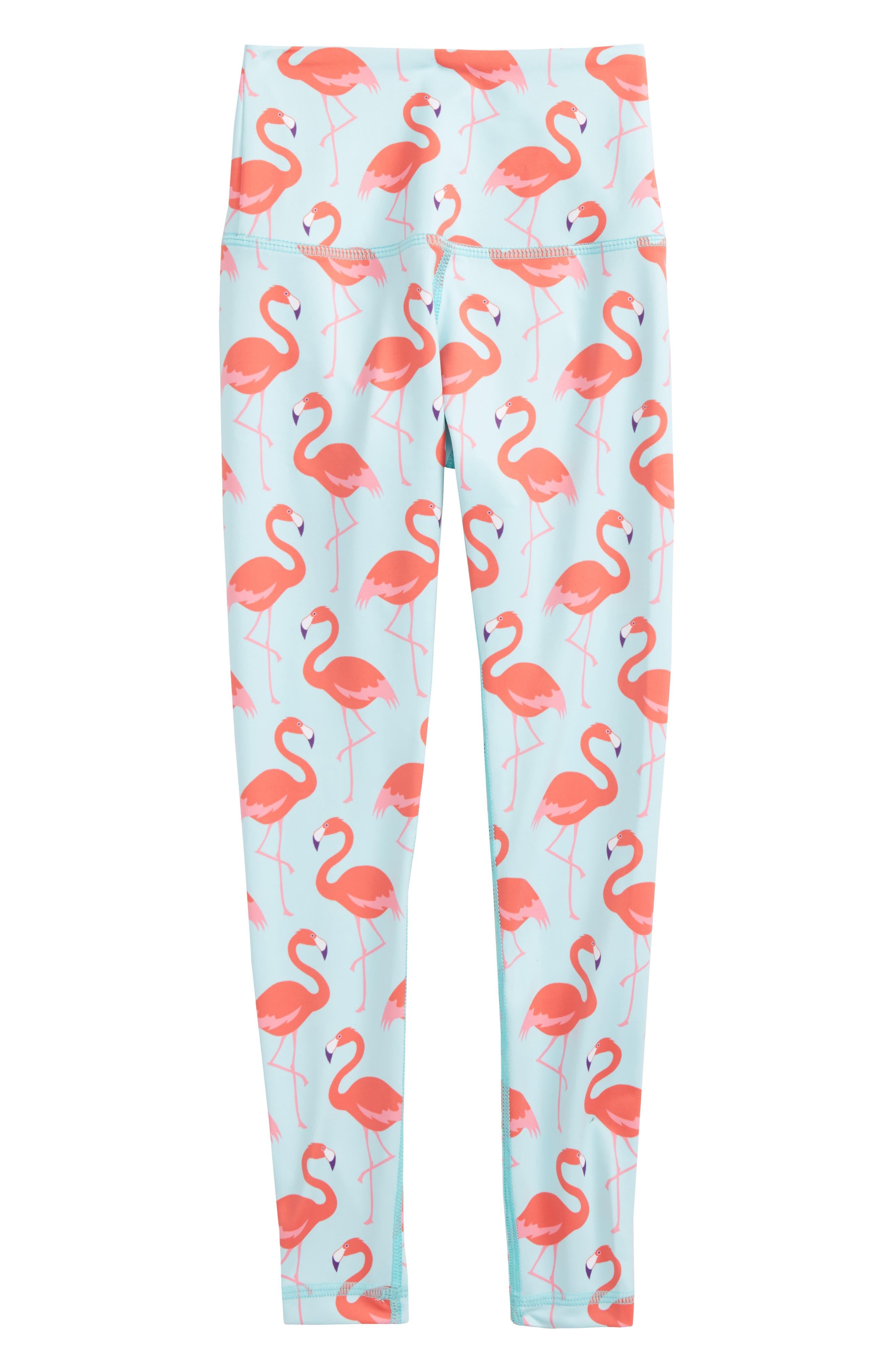 Flamingo Print Leggings,                             Main thumbnail 1, color,                             Aqua