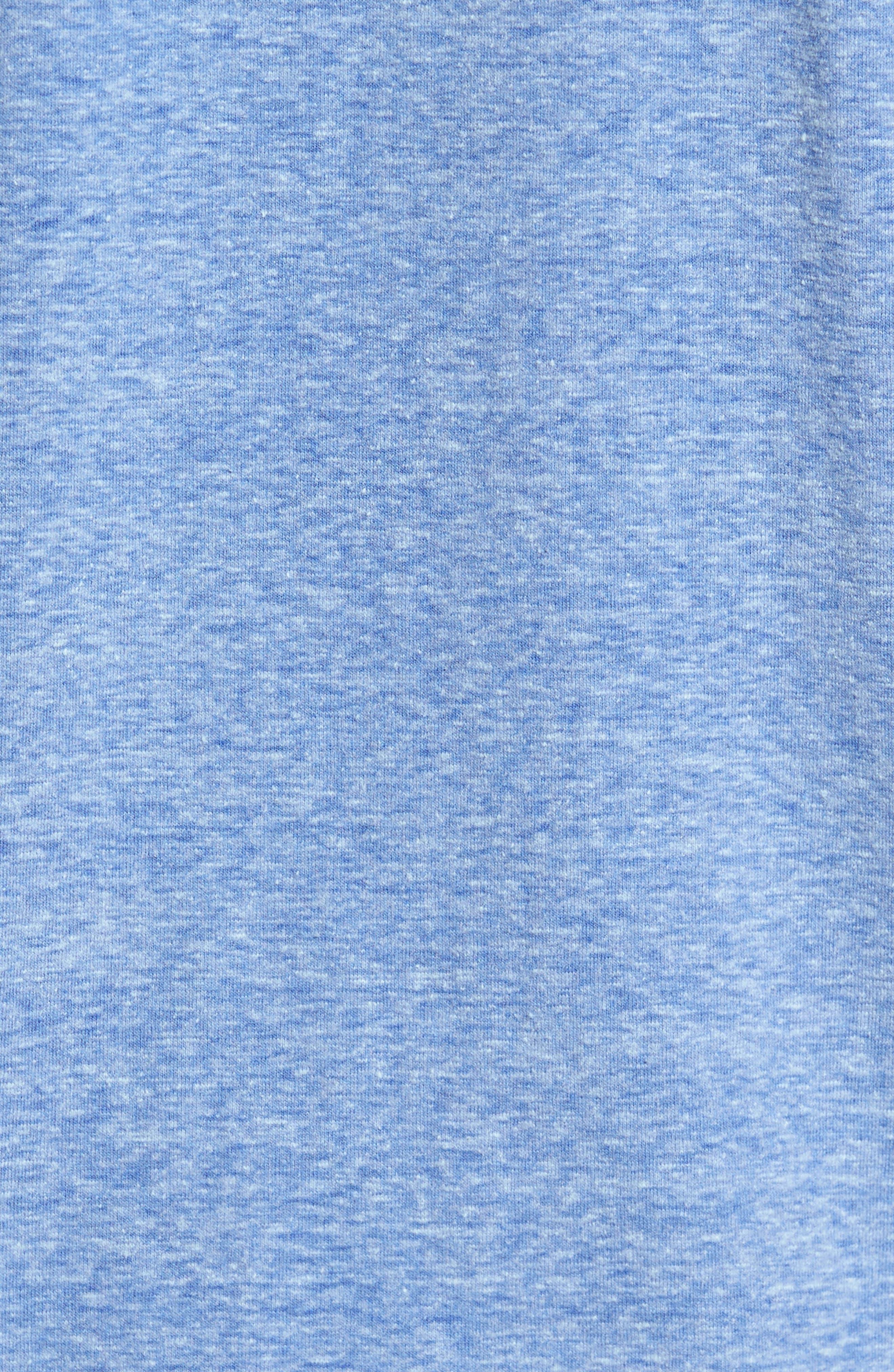 Heathered Short Sleeve Henley,                             Alternate thumbnail 5, color,                             Dazzling Blue Heather