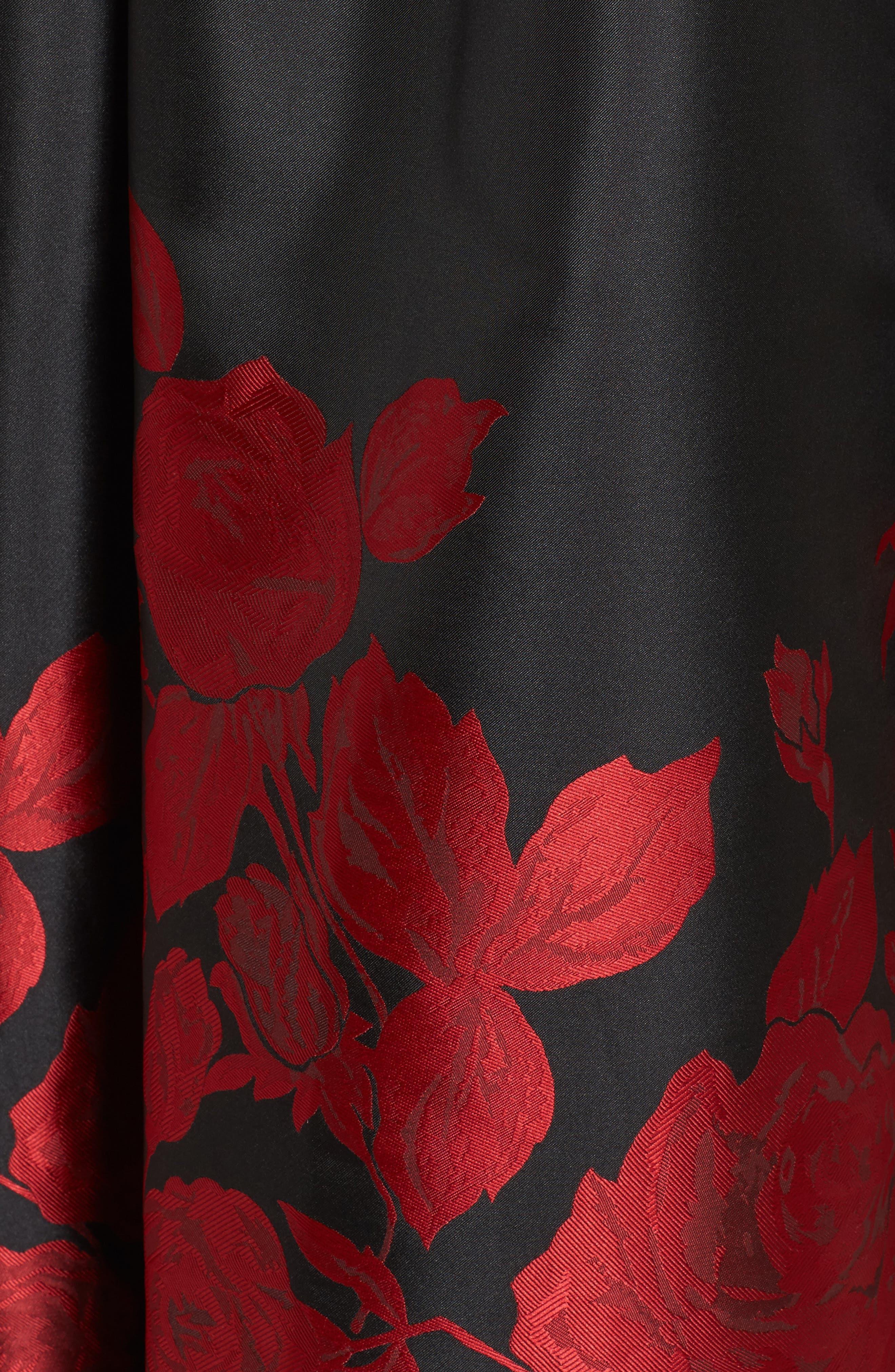 Velvet & Jacquard Ballgown,                             Alternate thumbnail 5, color,                             Black Red