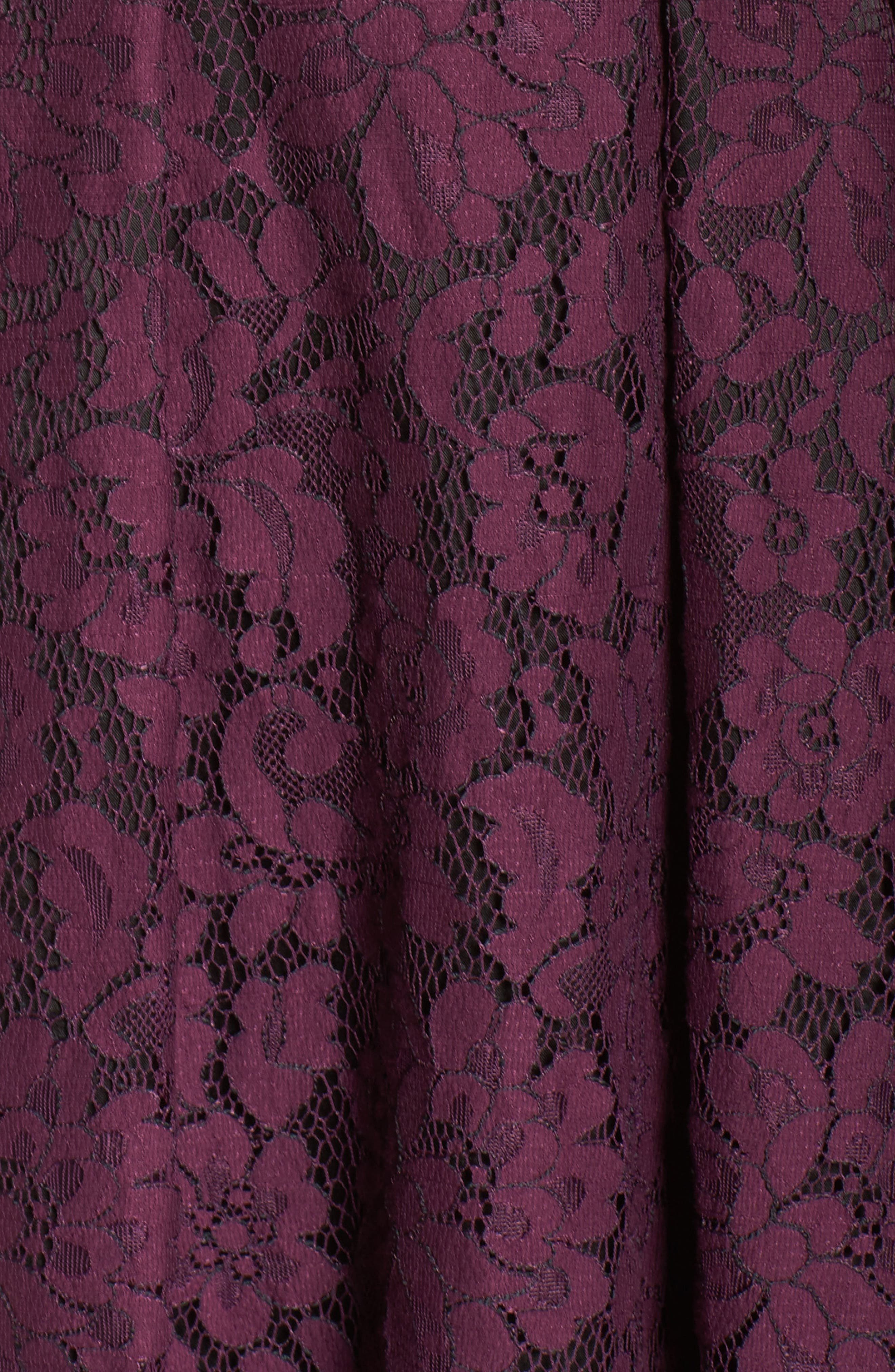 Lace Fit & Flare Dress,                             Alternate thumbnail 5, color,                             Raisin