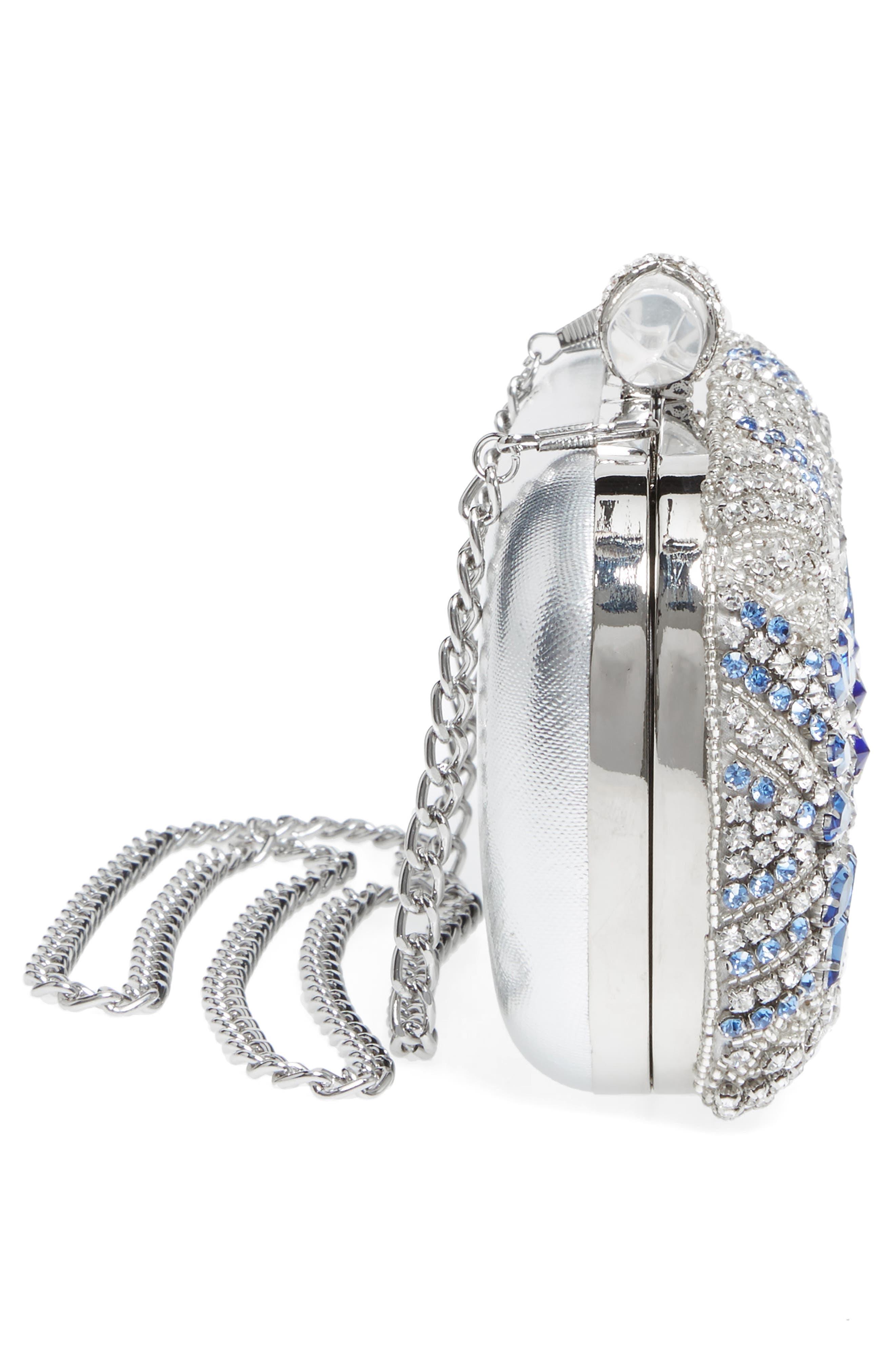 Gelsey Crystal Embellished Minaudière,                             Alternate thumbnail 5, color,                             Silver Multi