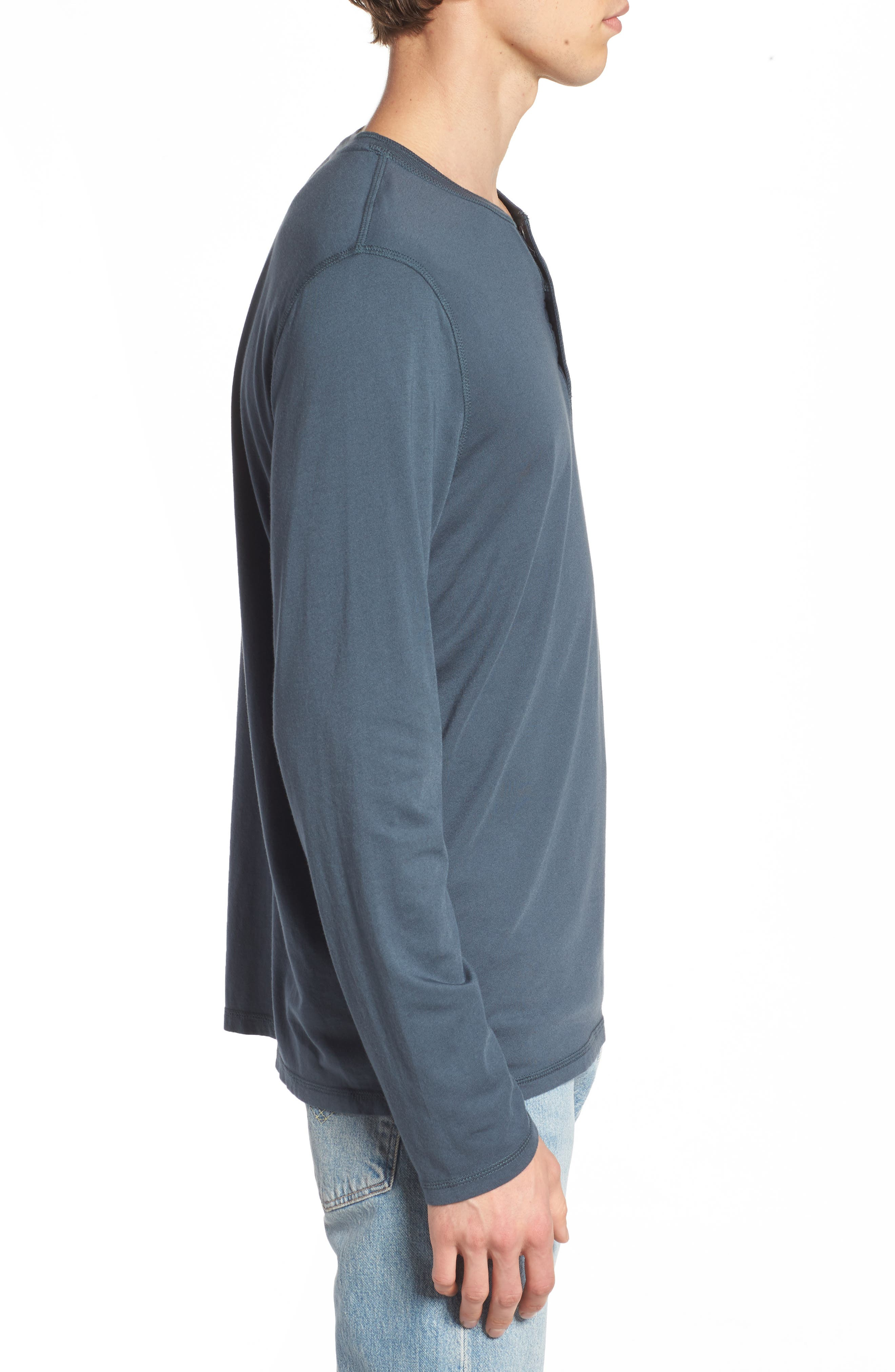 Clyde Slim Fit Long Sleeve Henley,                             Alternate thumbnail 3, color,                             Blue Slate