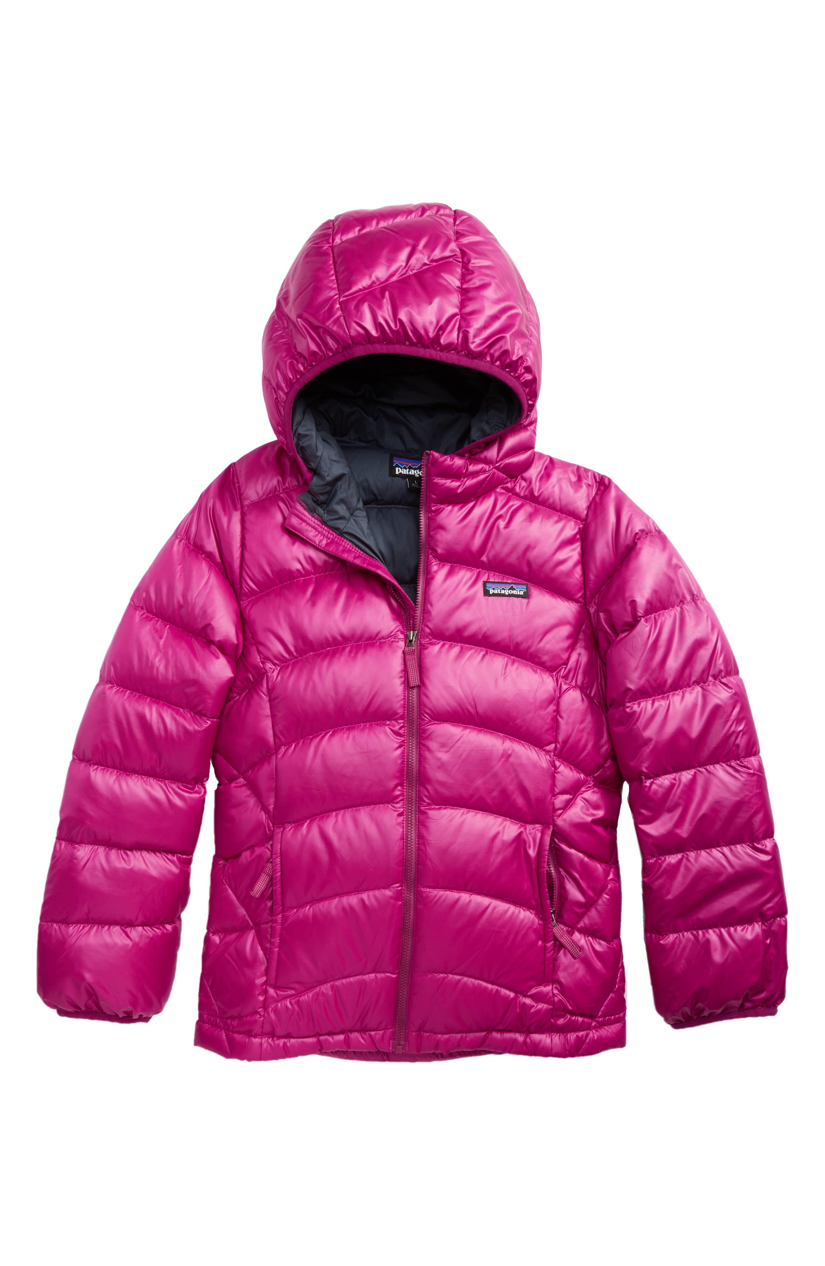 Hi-Loft Down Sweater Hooded Jacket,                         Main,                         color, Magenta