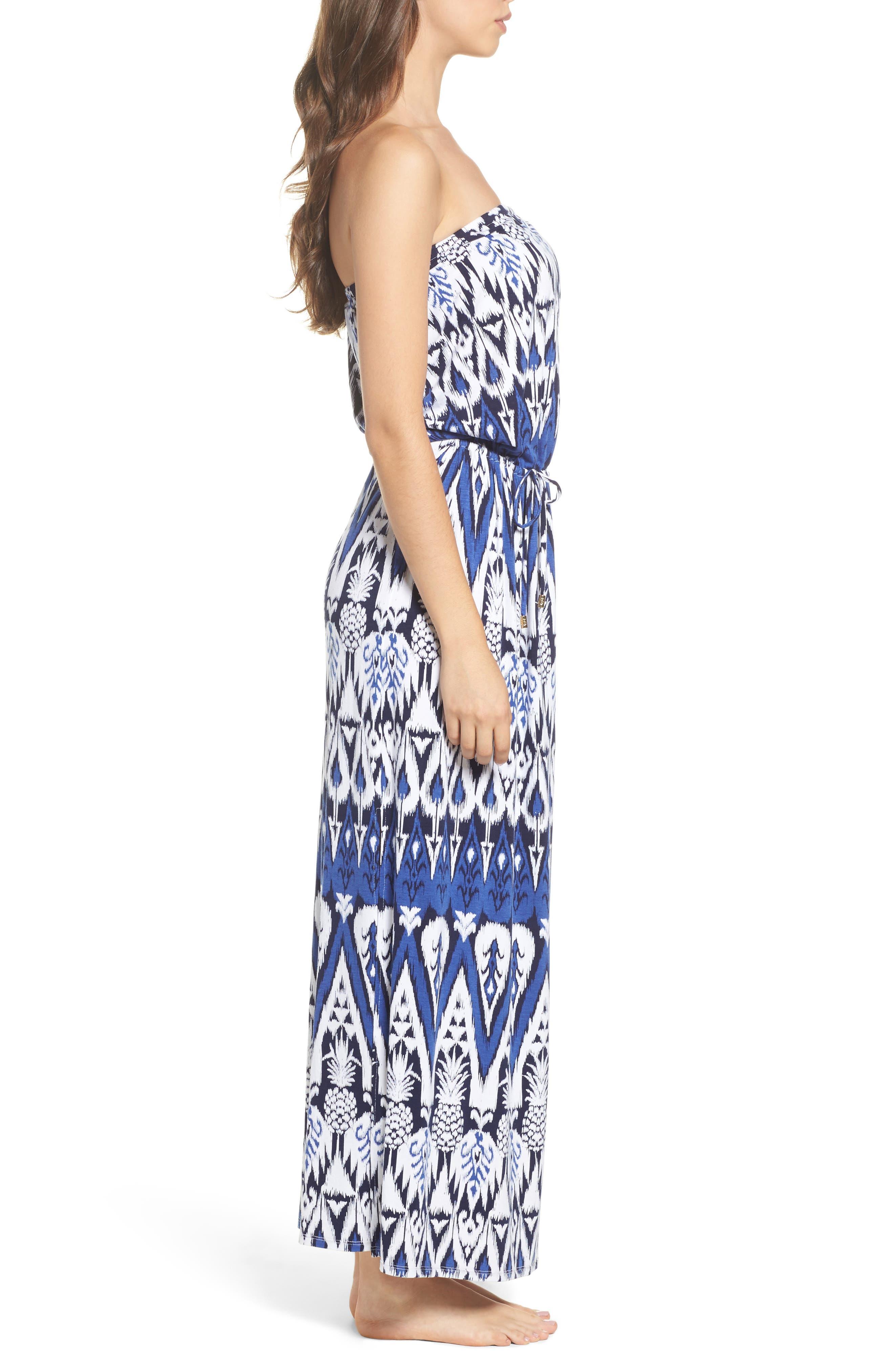 Pineapple Ikat Cover-Up Bandeau Maxi Dress,                             Alternate thumbnail 3, color,                             Dark Sanibel