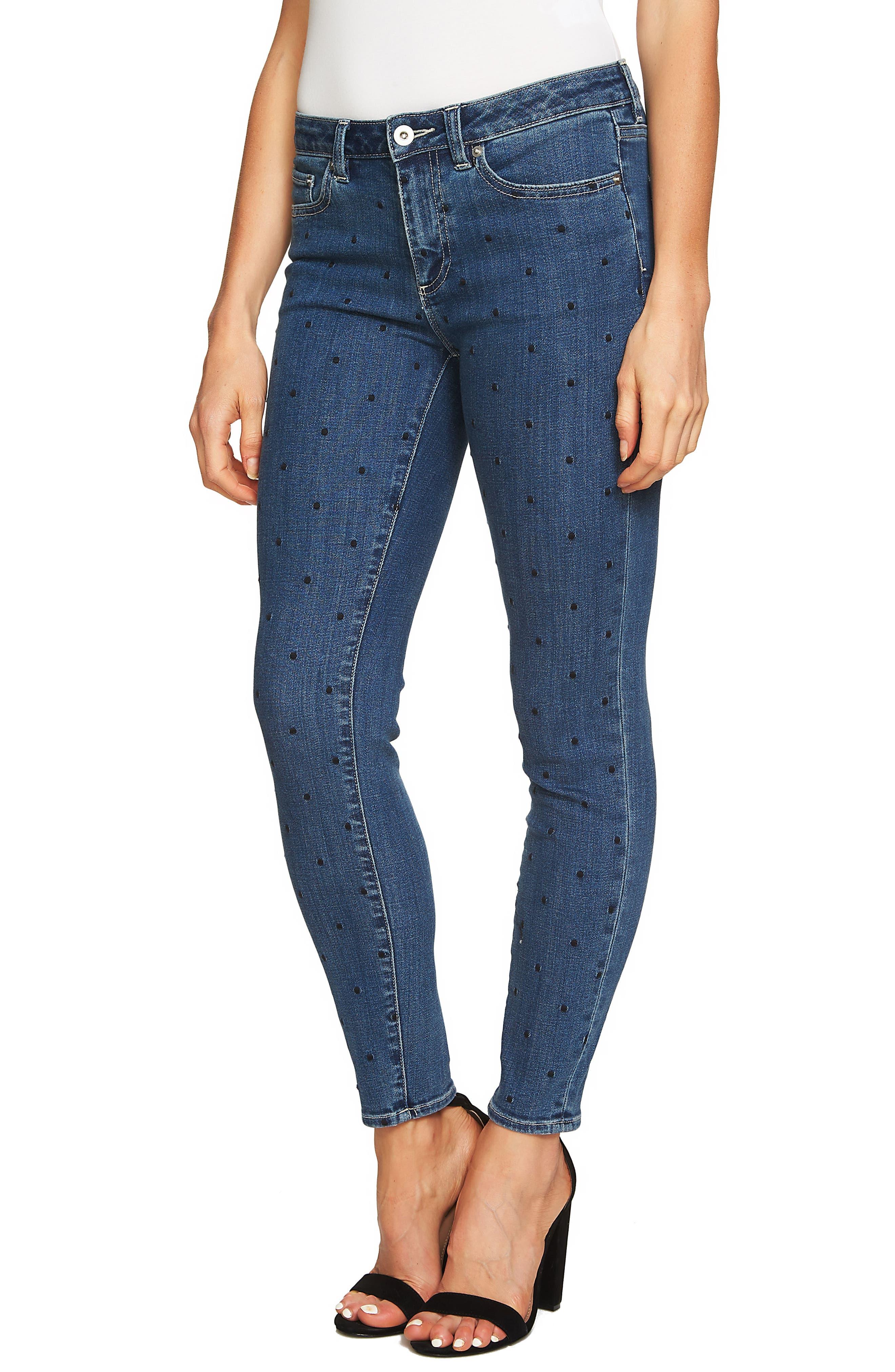 Polka Dot Skinny Jeans,                             Alternate thumbnail 3, color,                             Blue