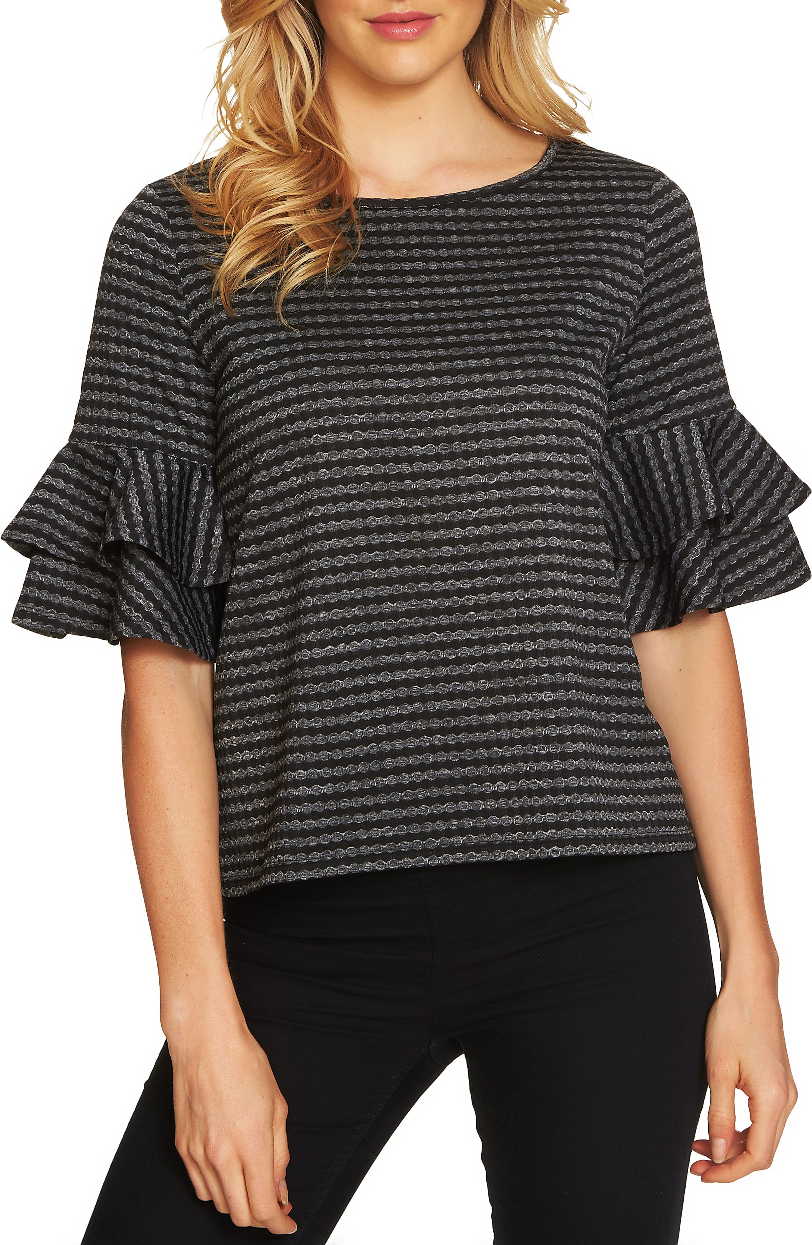 Ruffle Sleeve Knit Top,                         Main,                         color, Rich Black