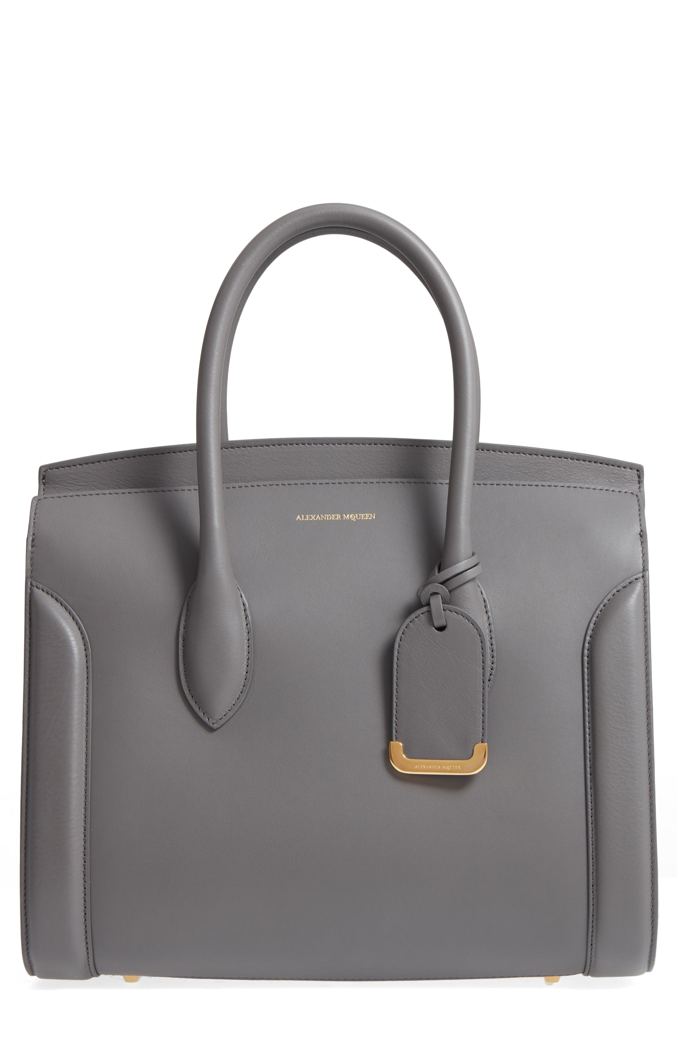 Large Heroine Calfskin Leather Shopper,                             Main thumbnail 1, color,                             Graphite