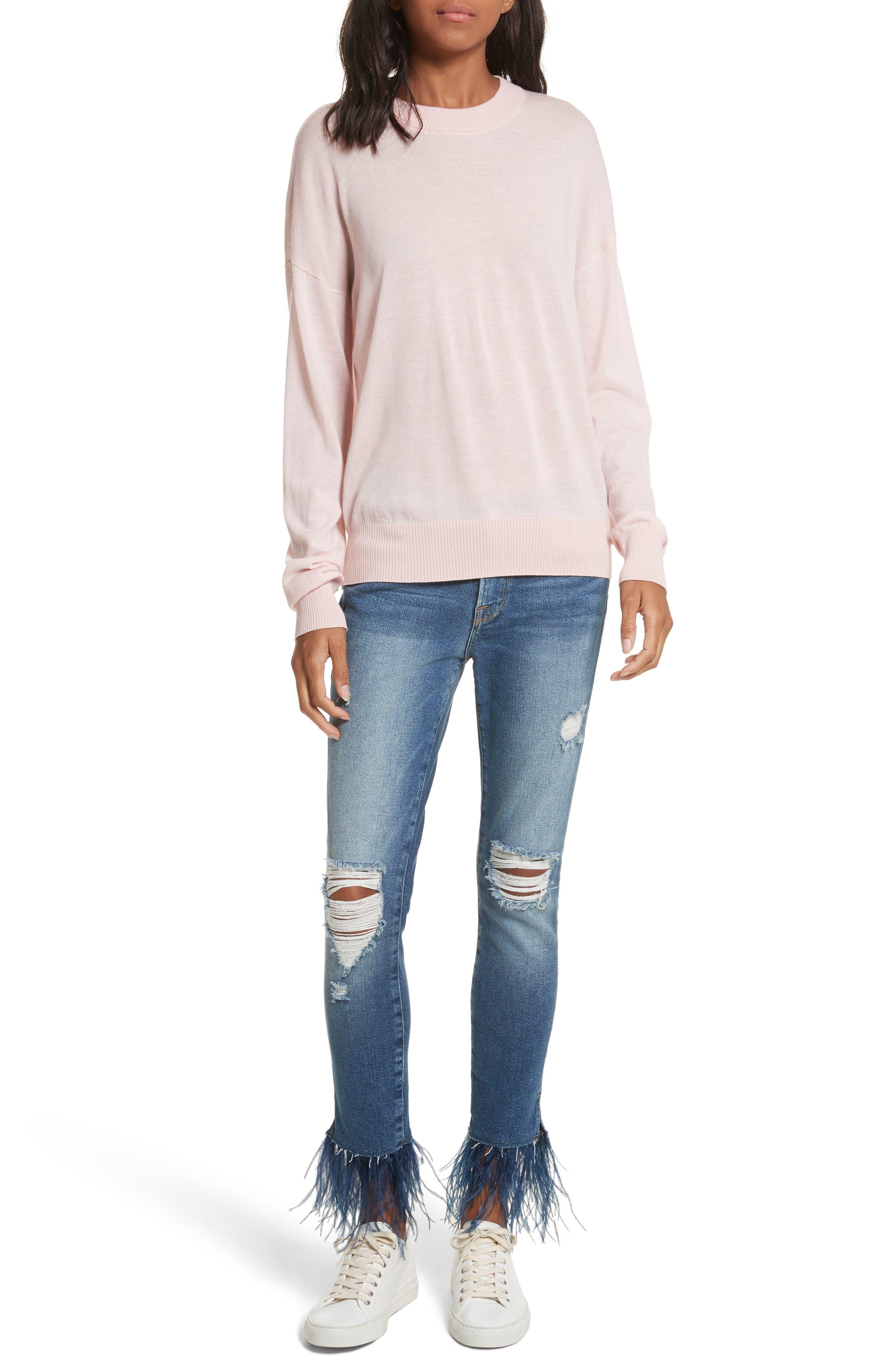 True Crewneck Wool Sweater,                             Alternate thumbnail 7, color,                             Powder Pink