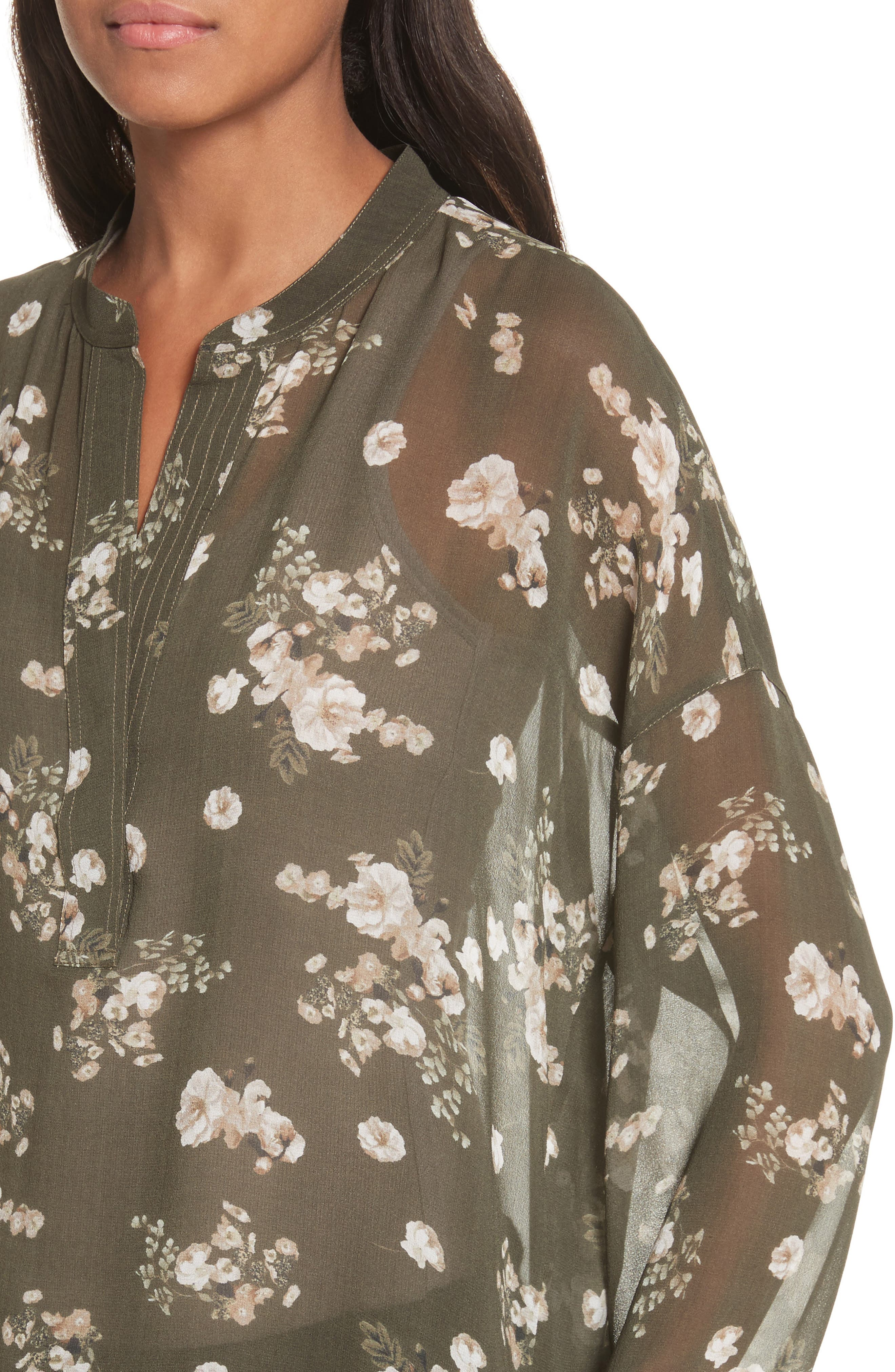 Shirred Floral Silk Blouse,                             Alternate thumbnail 4, color,                             Olive